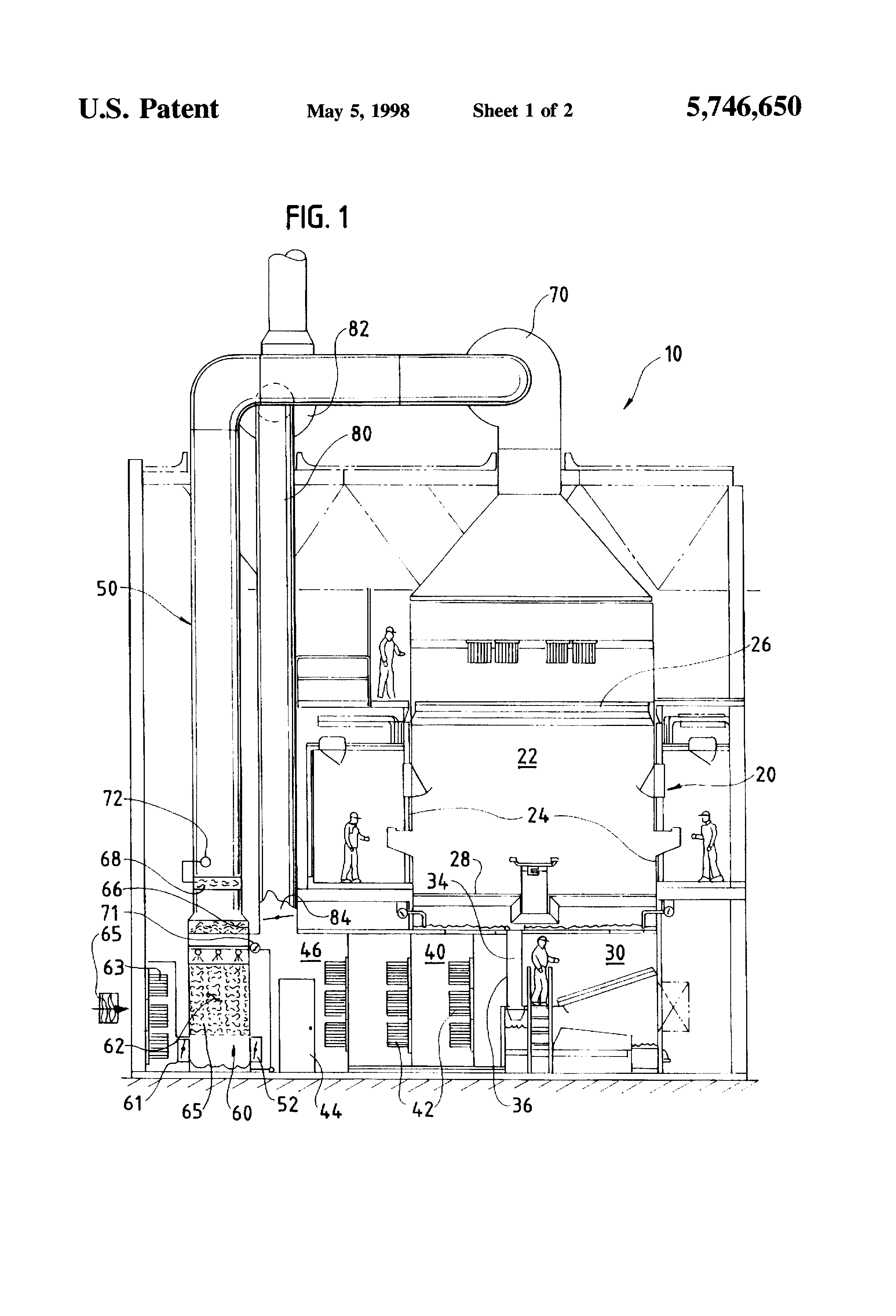 patent us5746650 - integrated paint spray booth and air conditioning system and process