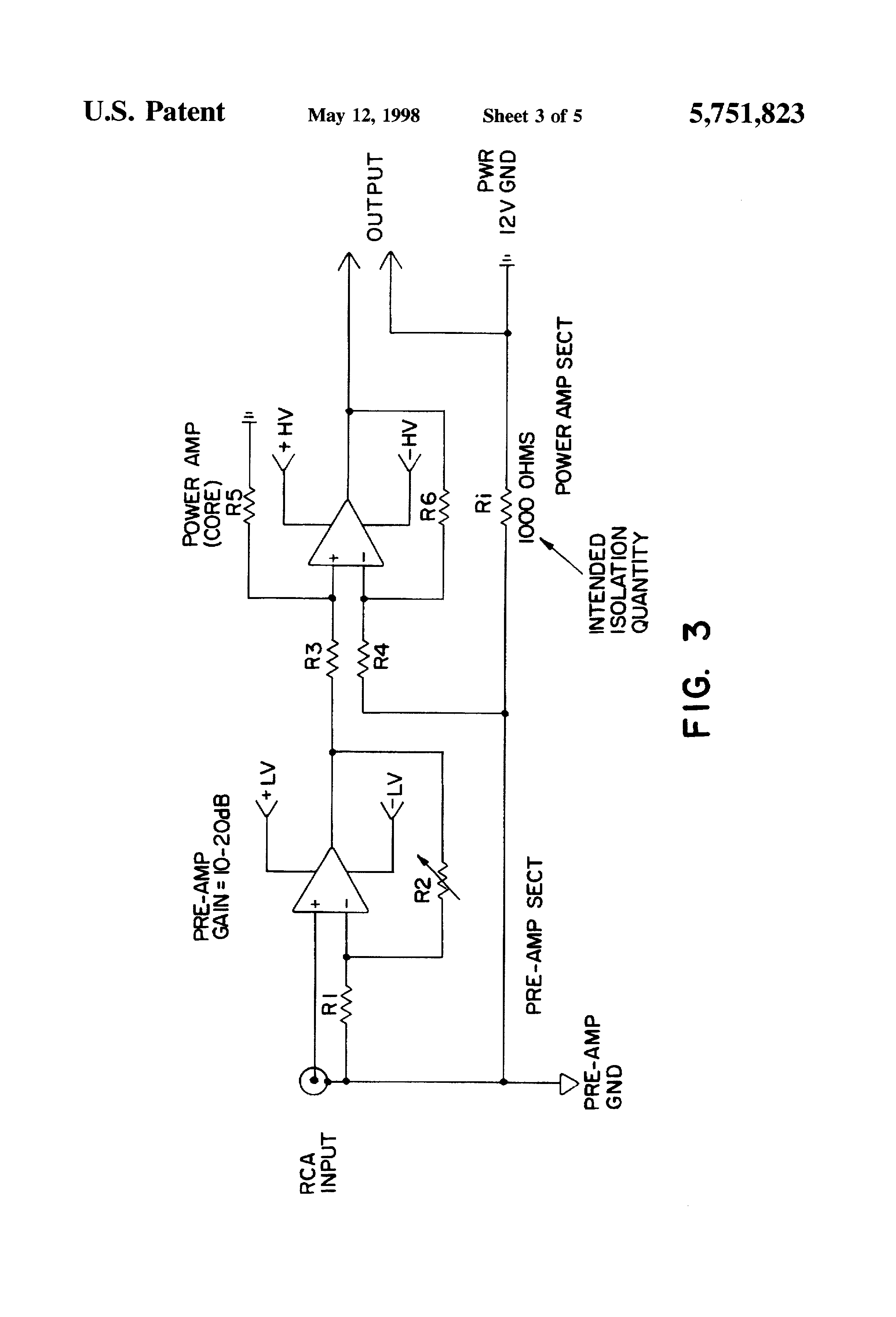 Patent Us5751823 Audio Amplifier System With Improved Isolation Analog Circuit Amplifiercircuit Diagram Drawing