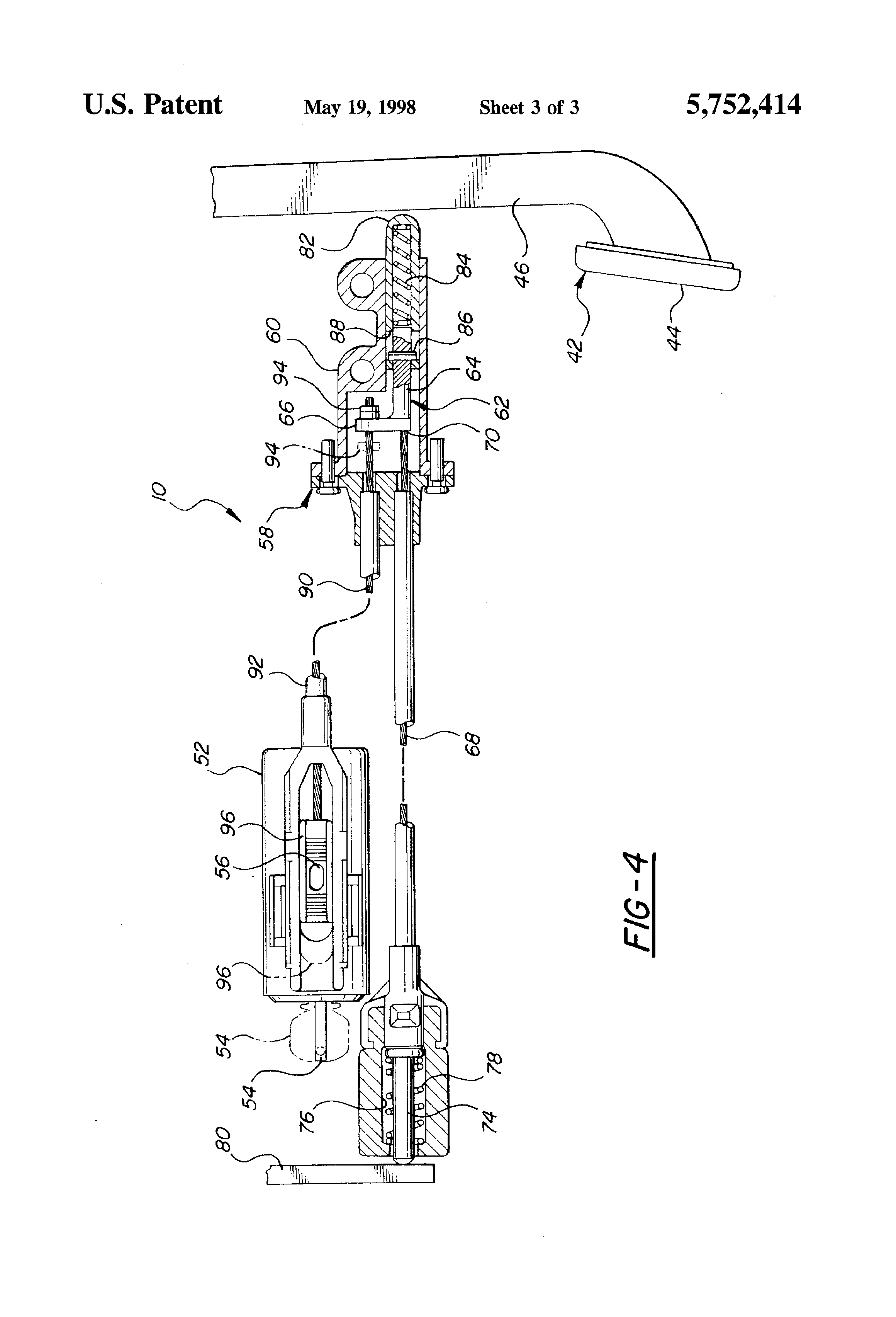 patent us5752414 - cable operated brake  ignition  transmission interlock