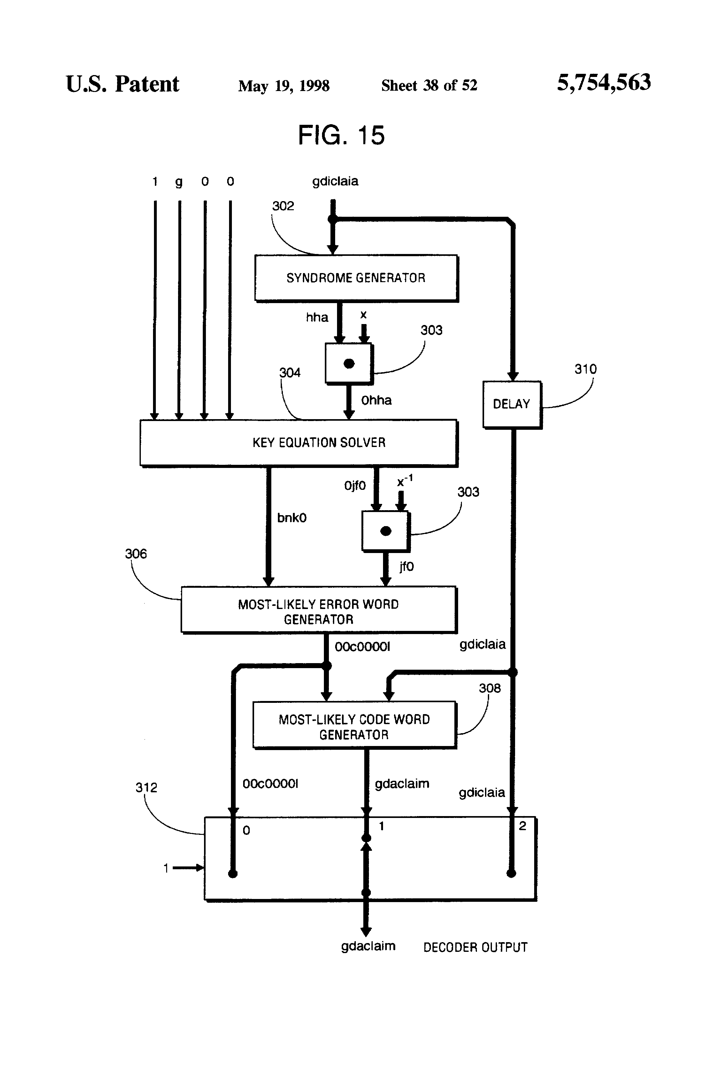 patent us5754563 byte parallel system for implementing reed patent drawing
