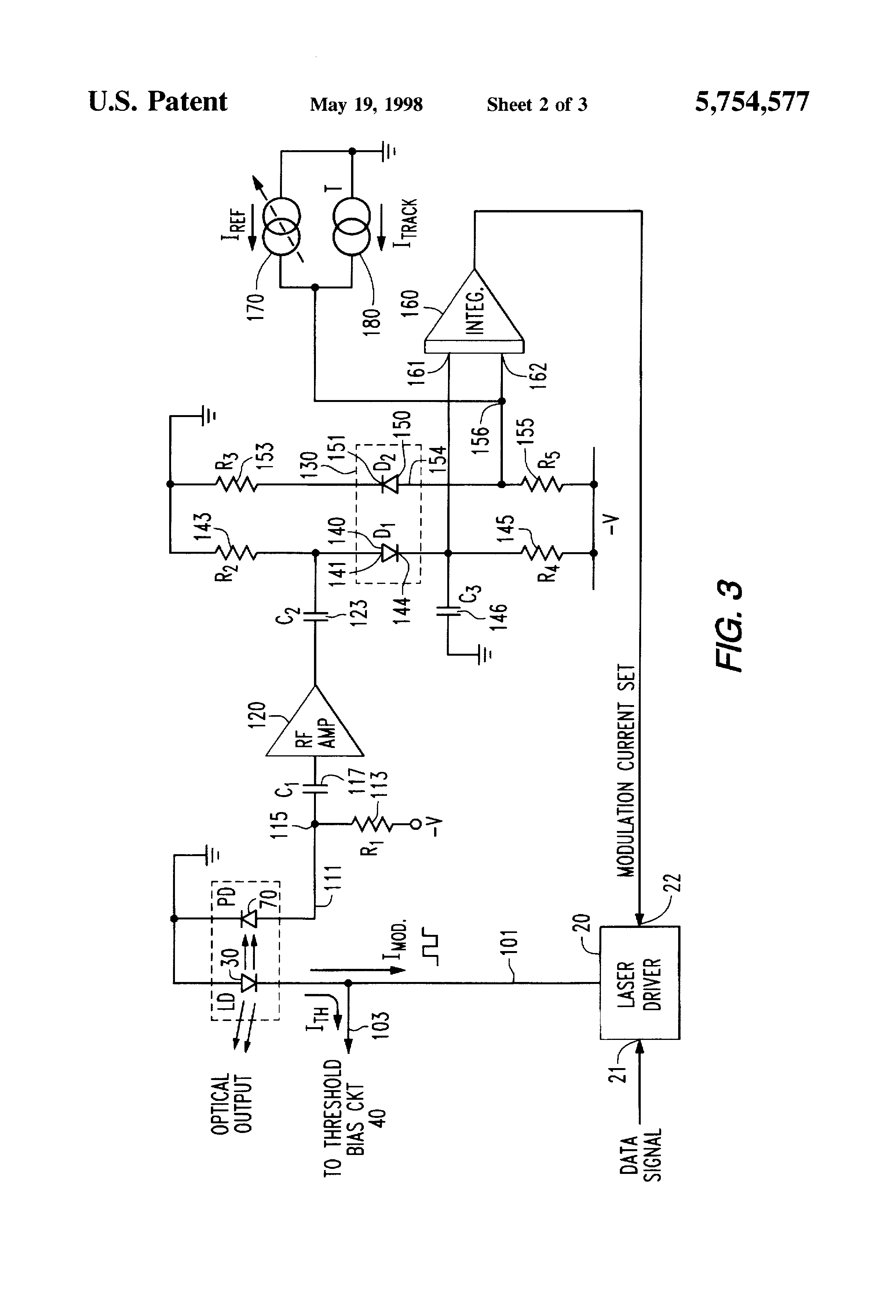 Patent Us5754577 Compensation For Variations In Temperature And Circuit Has A Pair Of Laser Emitting Diodes Receiver Drawing