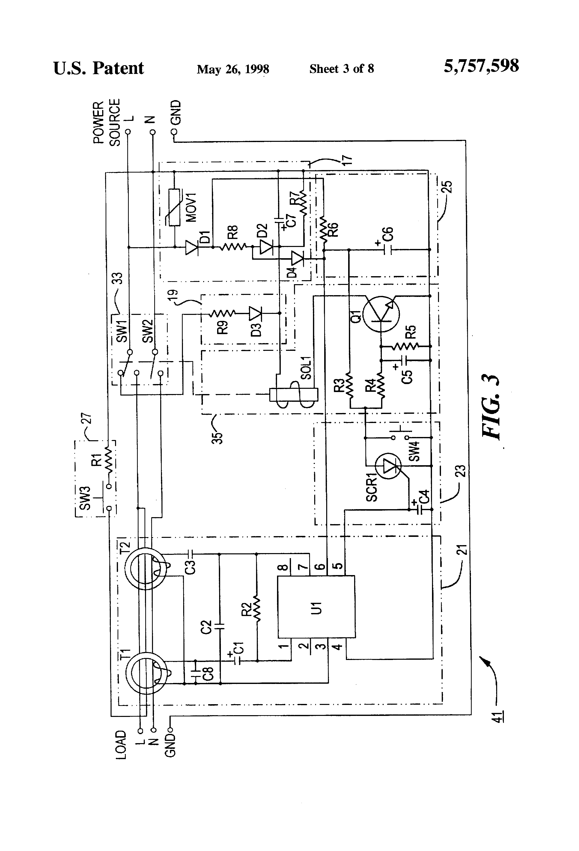 patent us5757598 - ground fault circuit interrupter