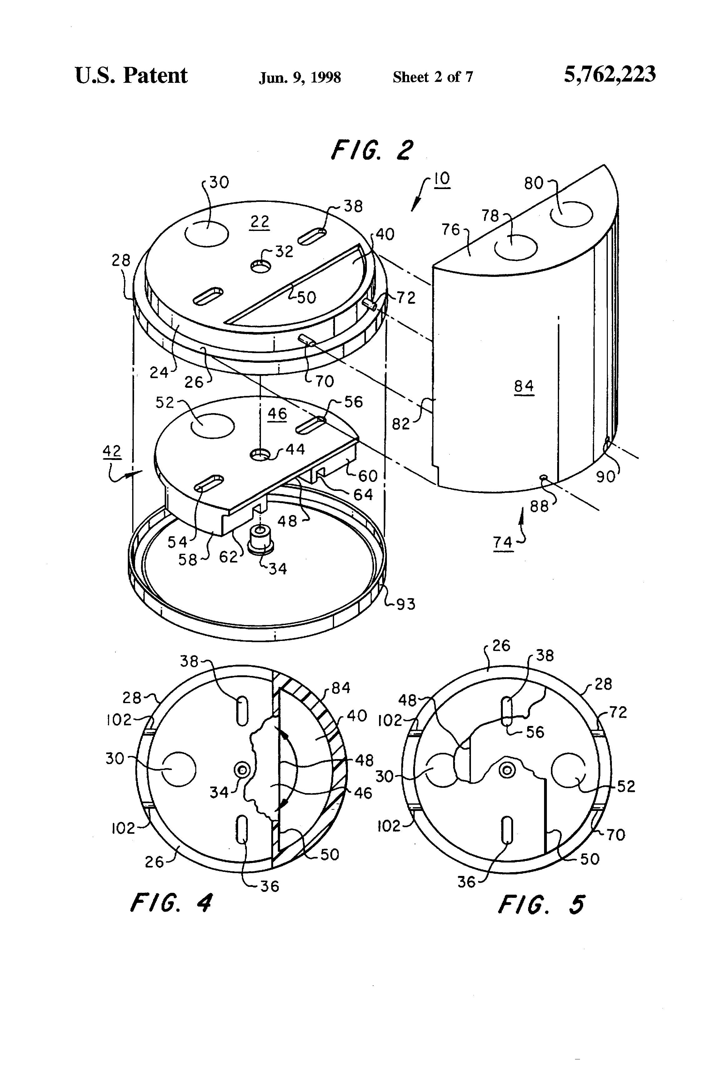 patent us5762223 - electrical box for ceiling fan support