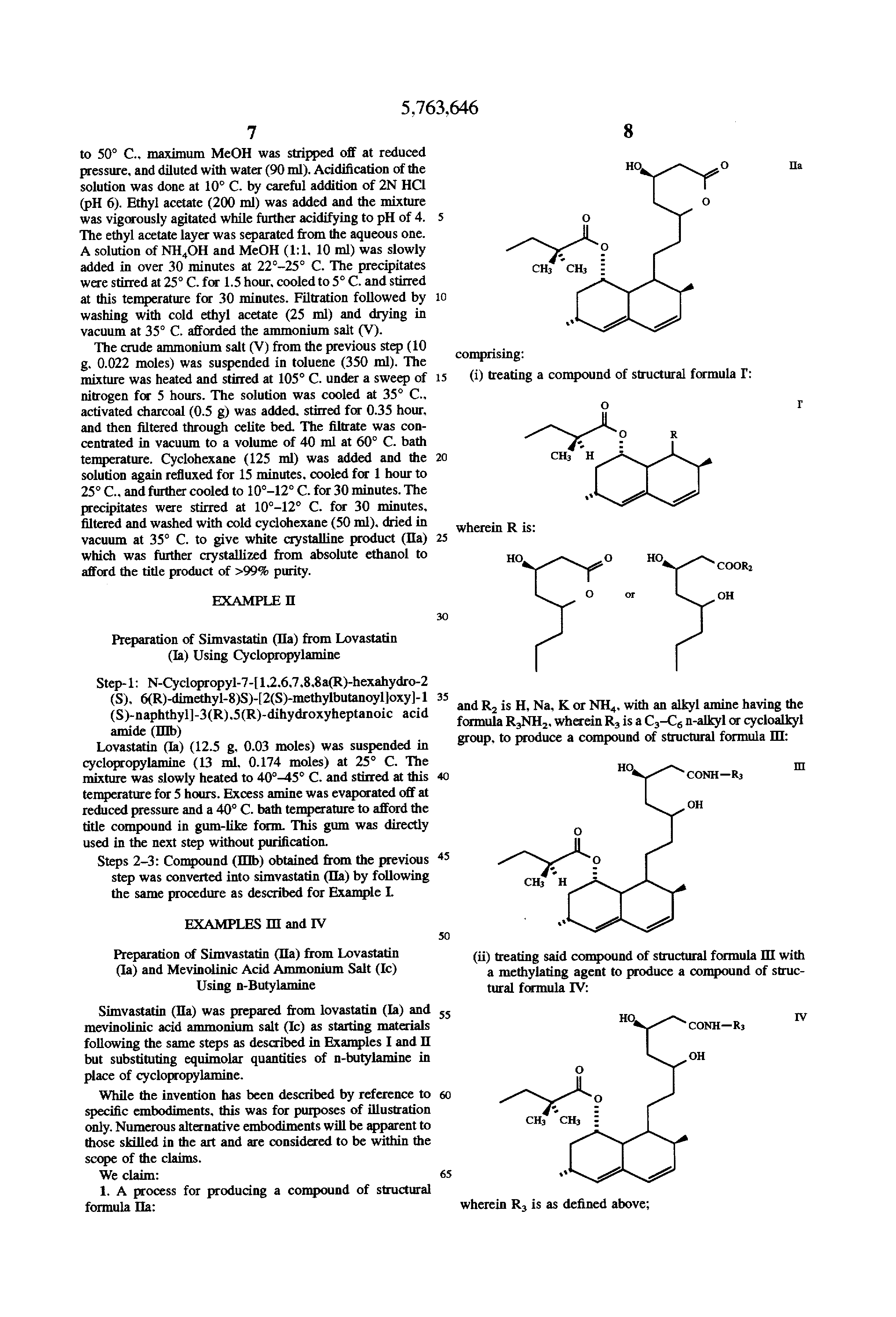 patent us process for manufacturing simvastatin from  patent drawing