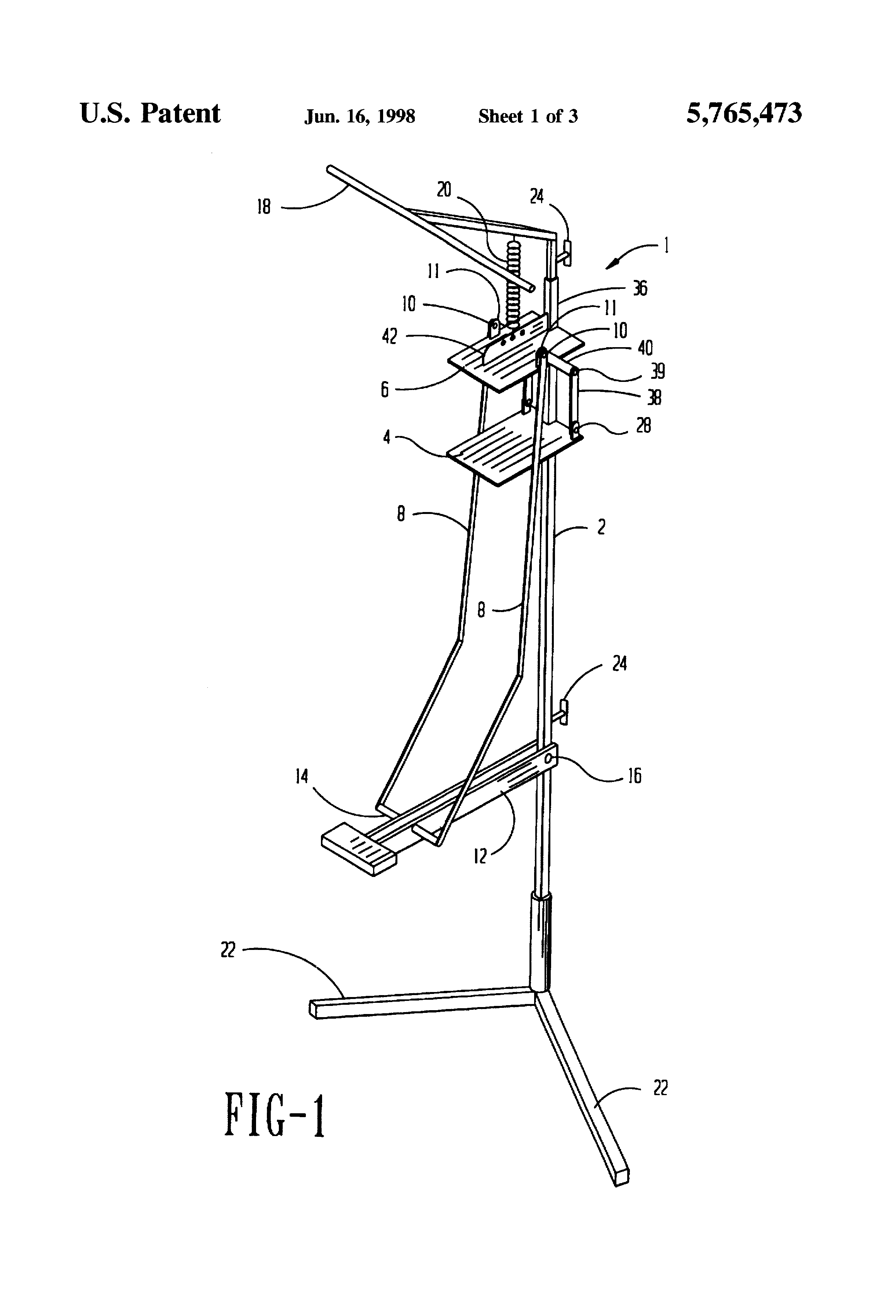 patent us5765473 - foot operated can crusher