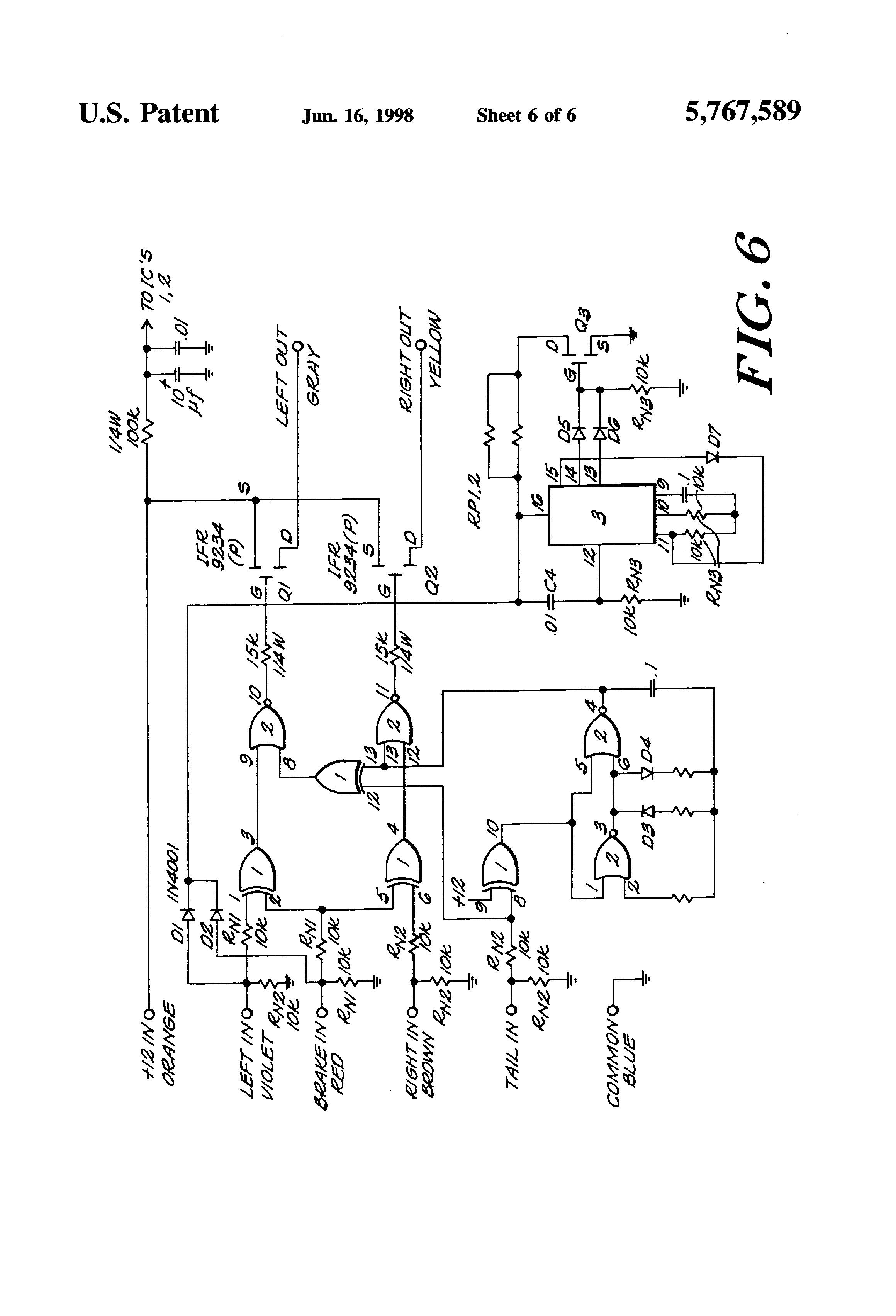 patent us5767589 lighting control circuit for vehicle brake patent drawing