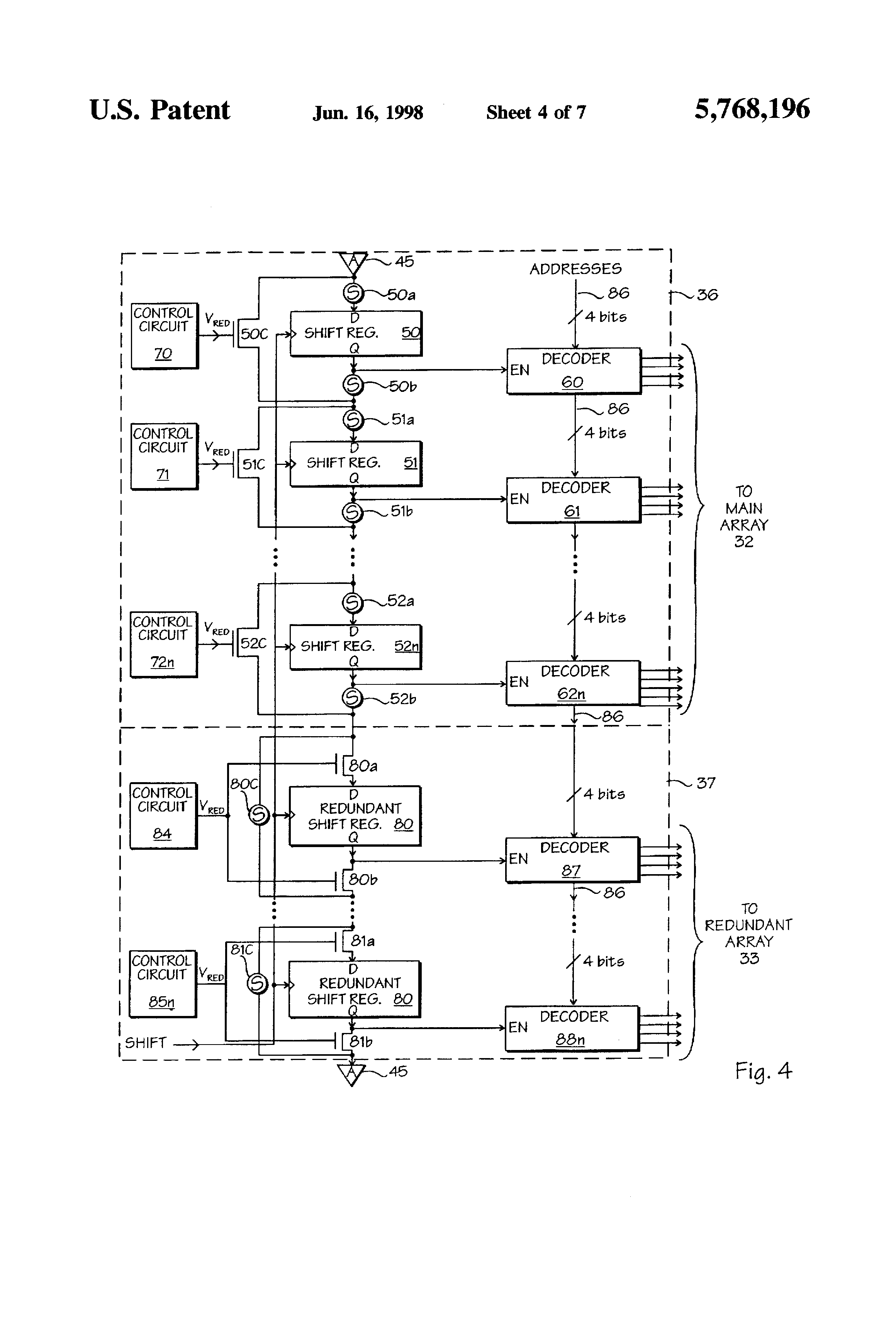 Patent Us5768196 Shift Register Based Row Select Circuit With Diagram Decoder And Drawing