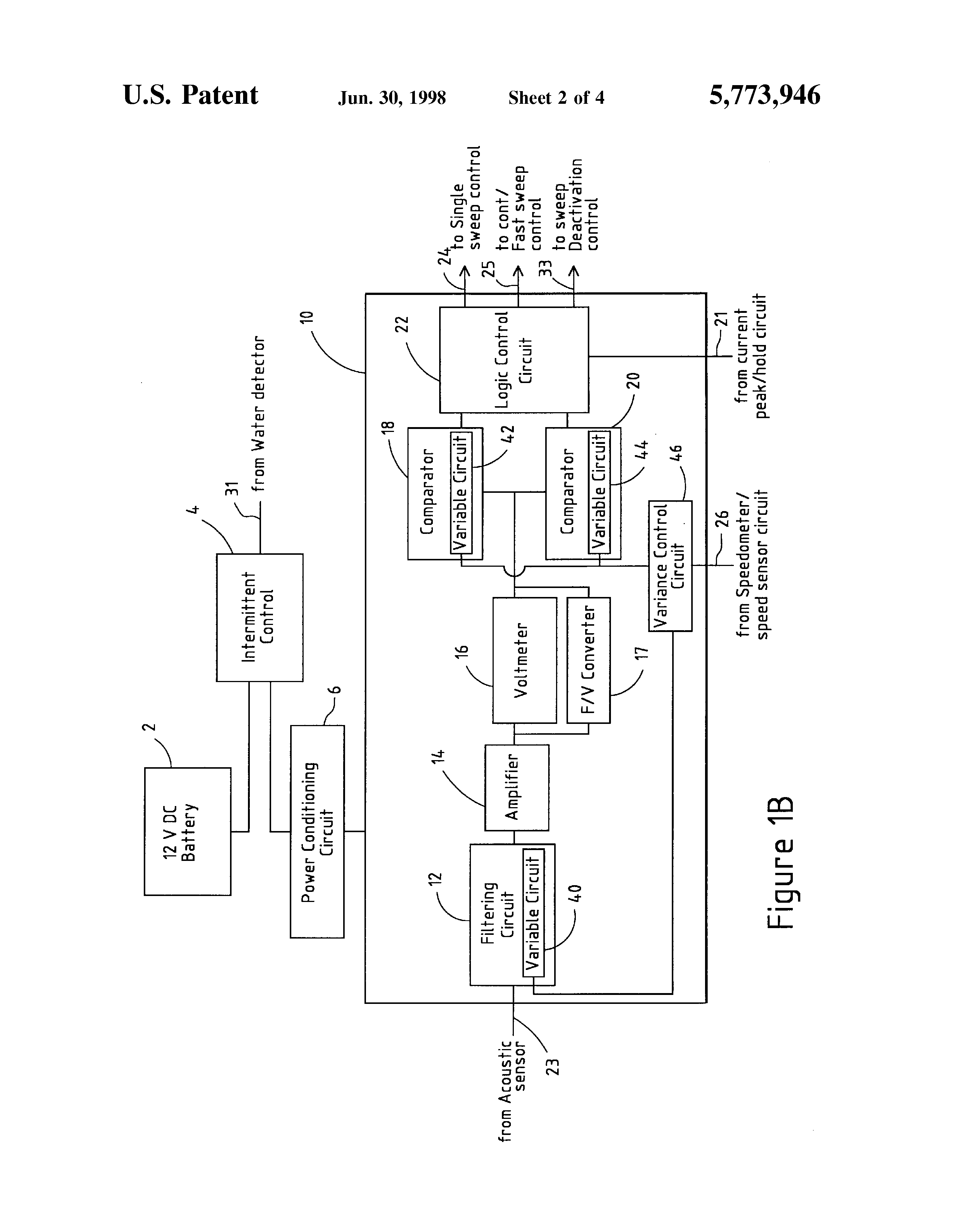 Patent Us5773946 Apparatus For And Method Of Automatically Automatic Rain Sensing Windshield Wiper Control Circuit Diagram Drawing
