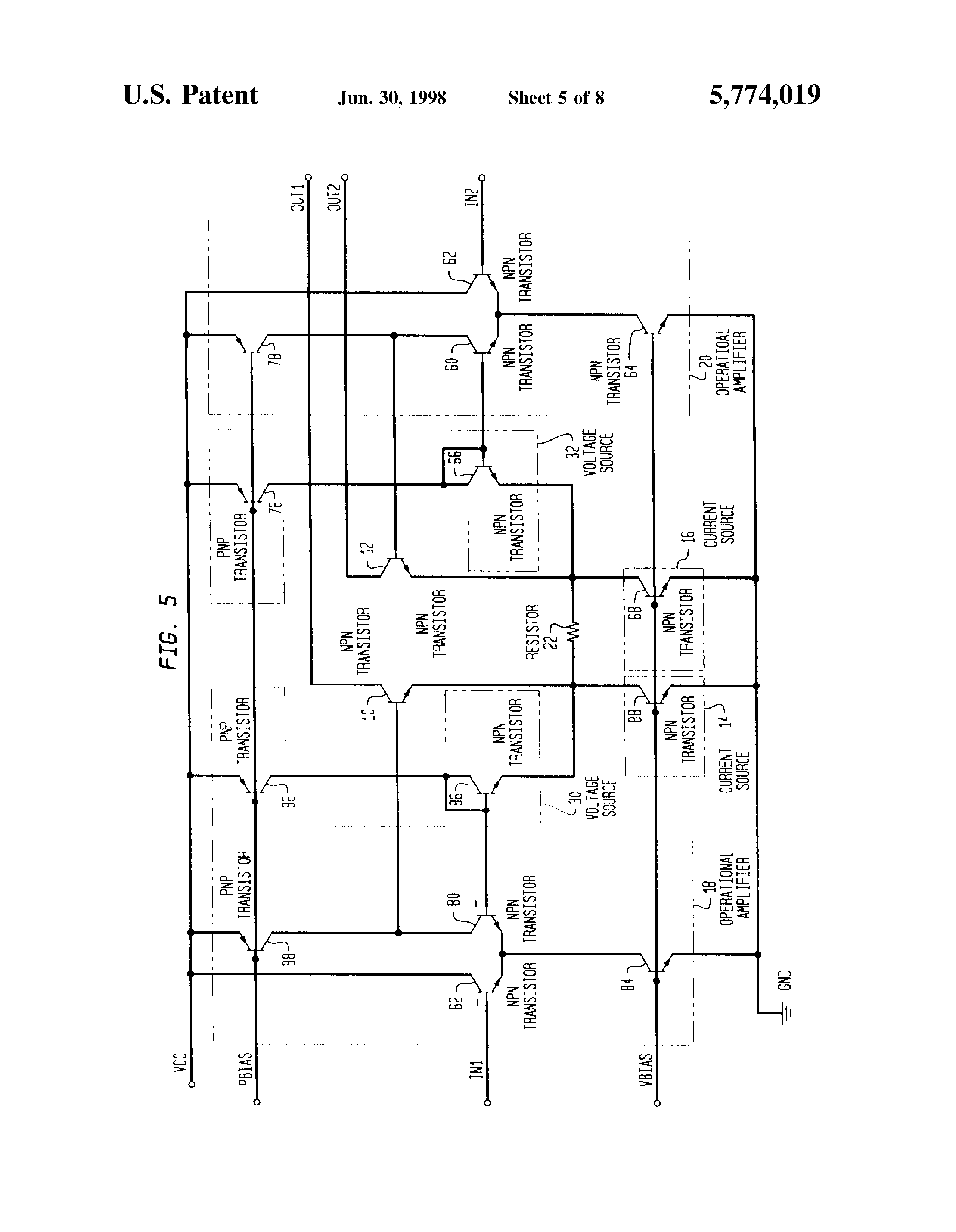 Patent Us5774019 Low Distortion Differential Amplifier Circuit Transistor Current Source Drawing