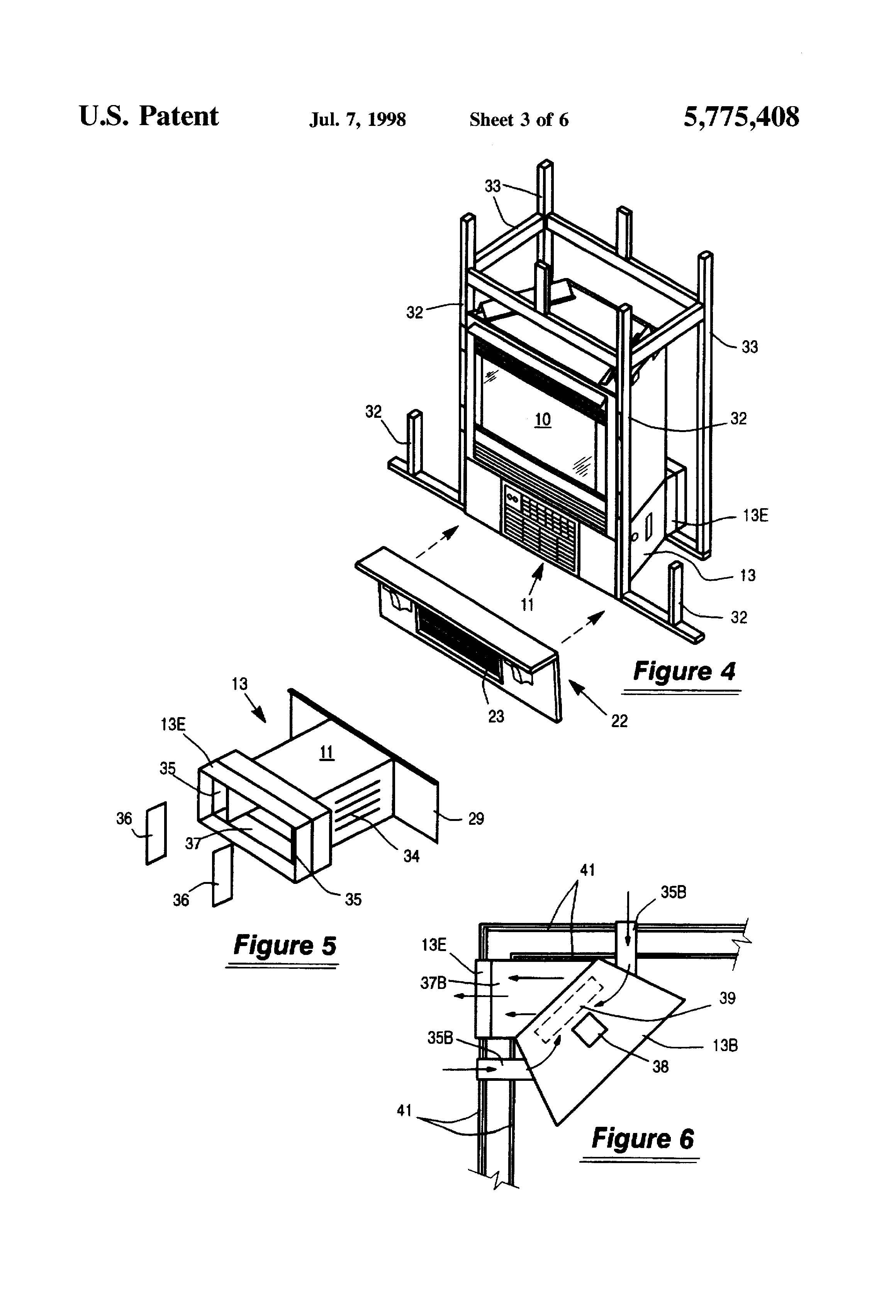 Patent Us5775408 Integrated Gas Fireplace And Air Conditioner System Google Patents