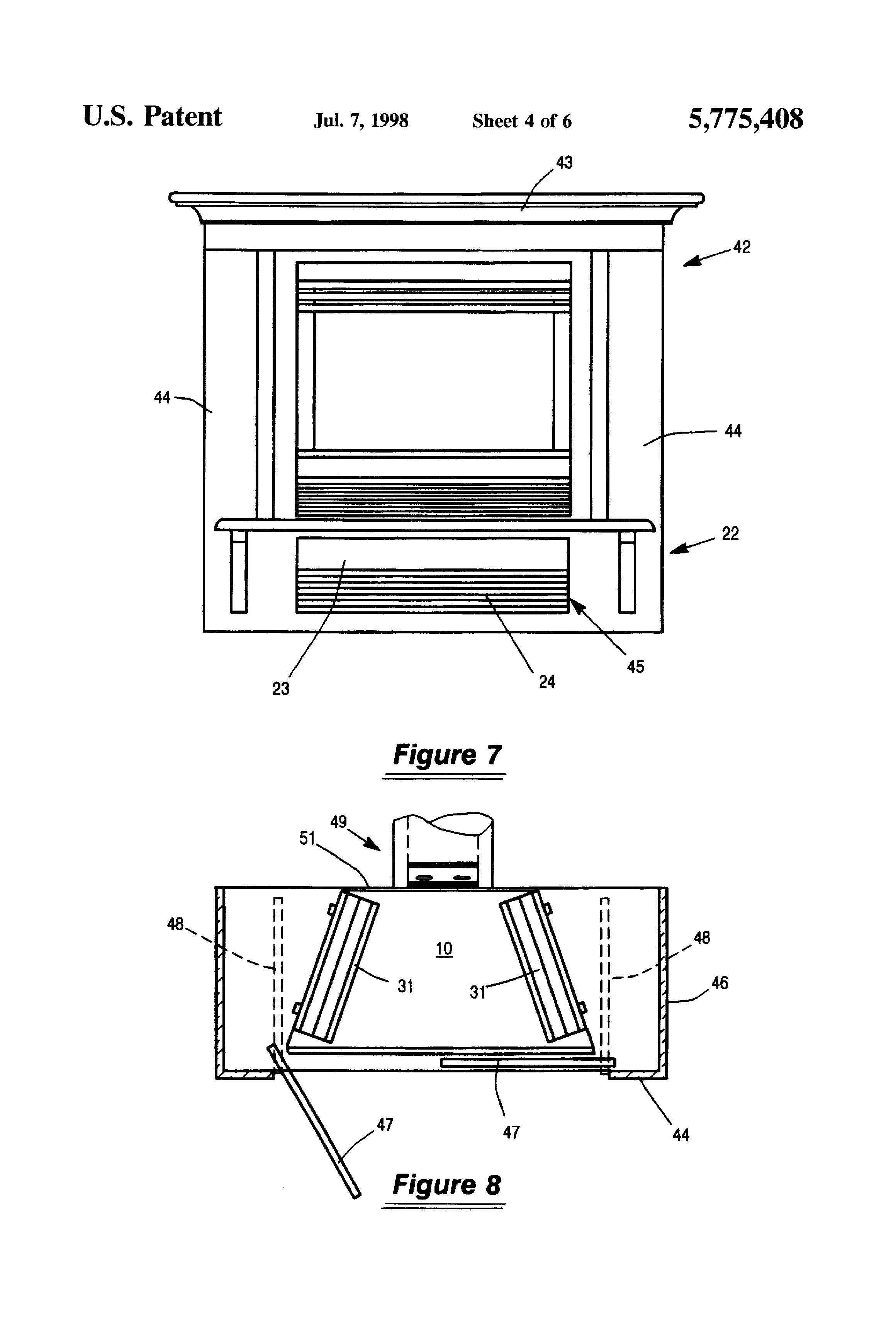 patent us5775408 integrated gas fireplace and air conditioner