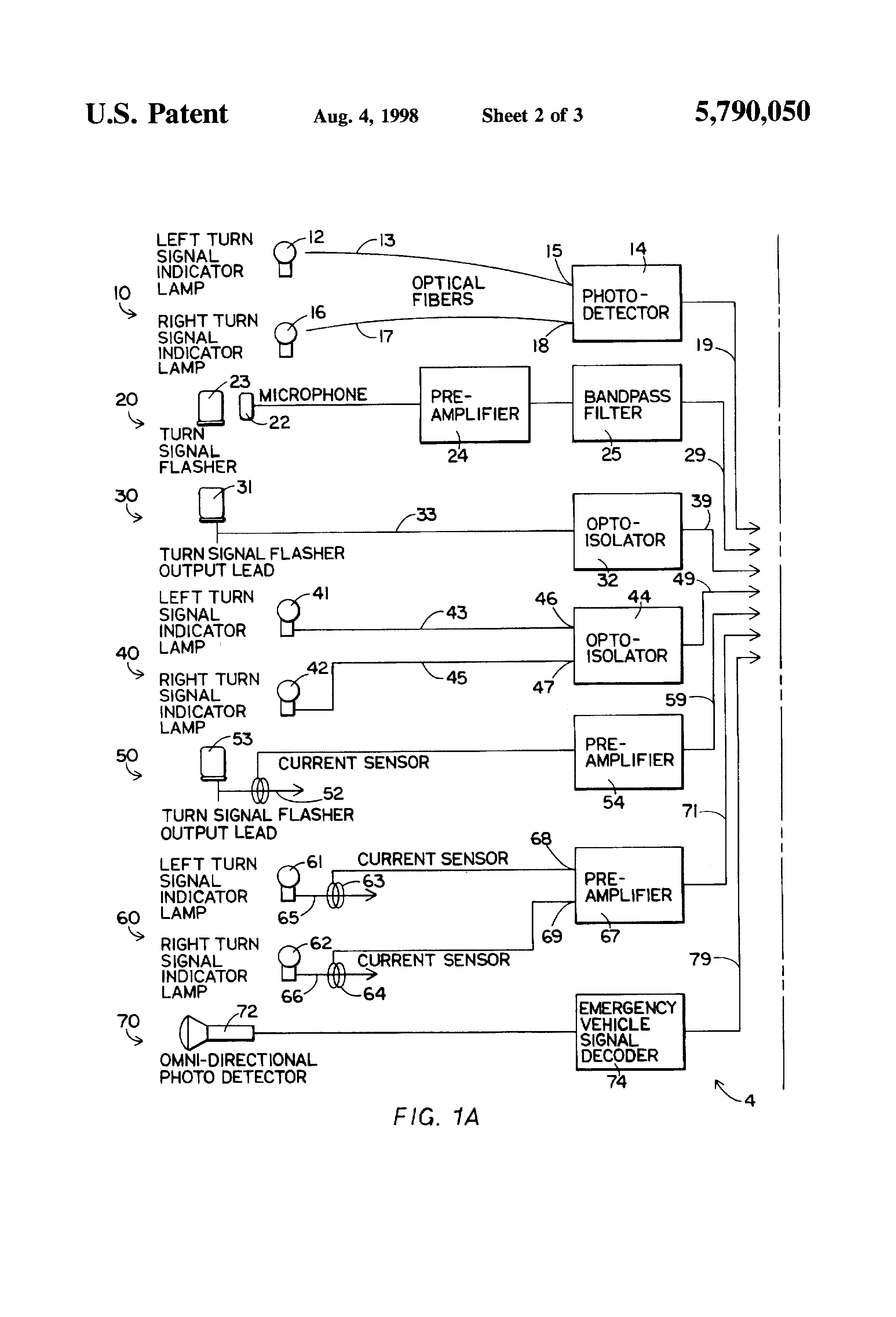 Patent Us5790050 Method And Apparatus For A Signal Translator Audible Flasher Warning Drawing