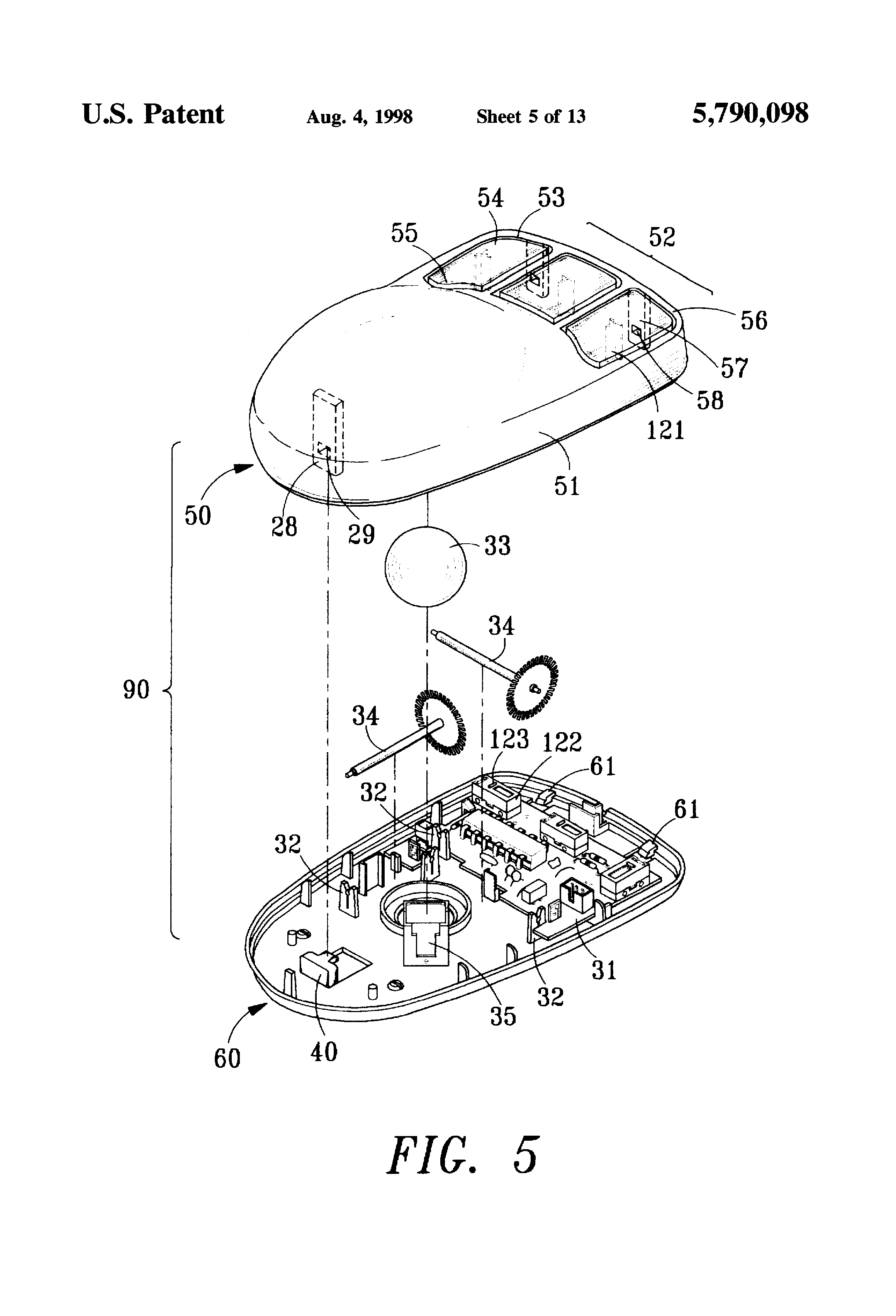 patent us5790098 - computer mouse structure