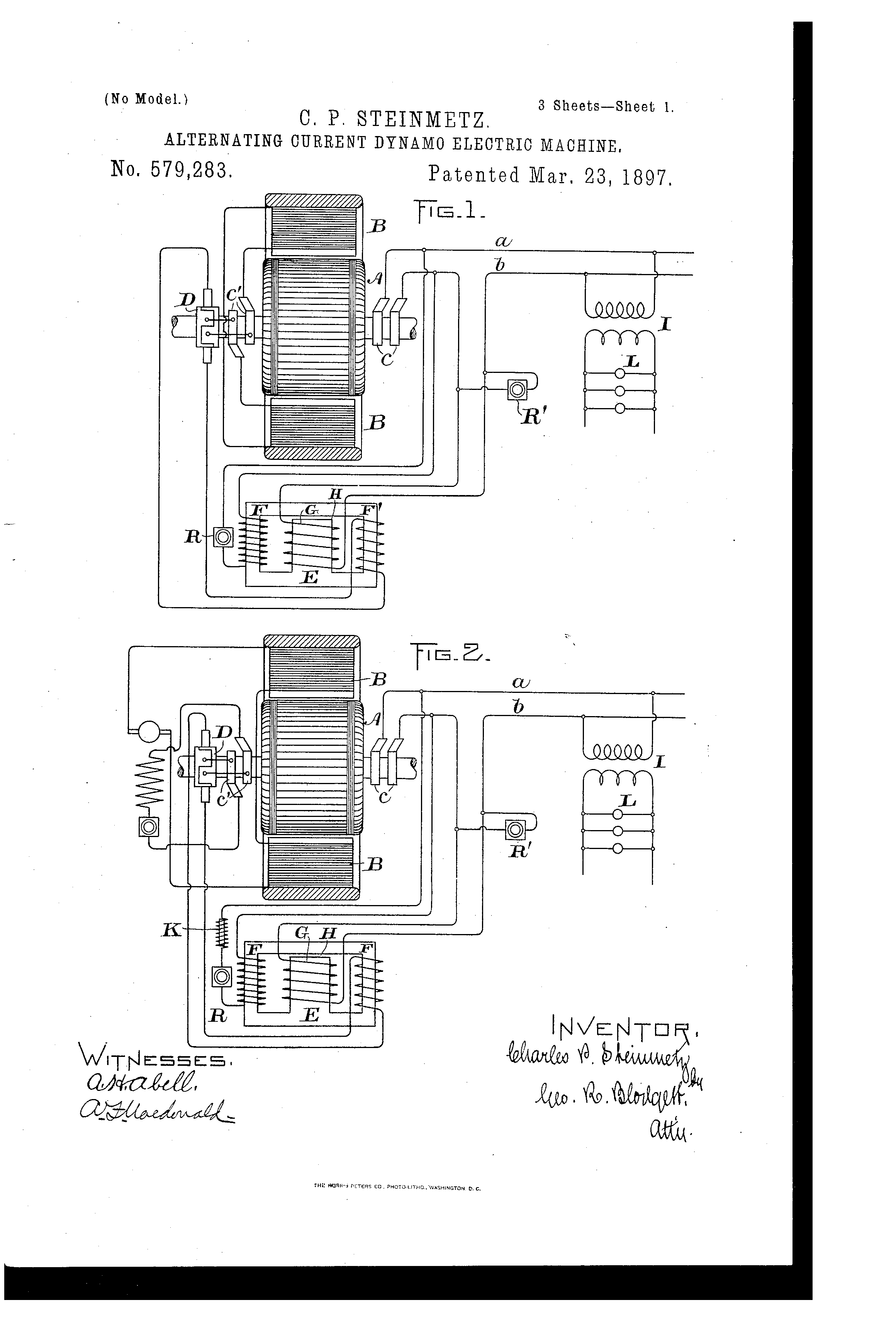 Patent Us579283 Alternating Current Dynamo Google Patents Diagram Drawing