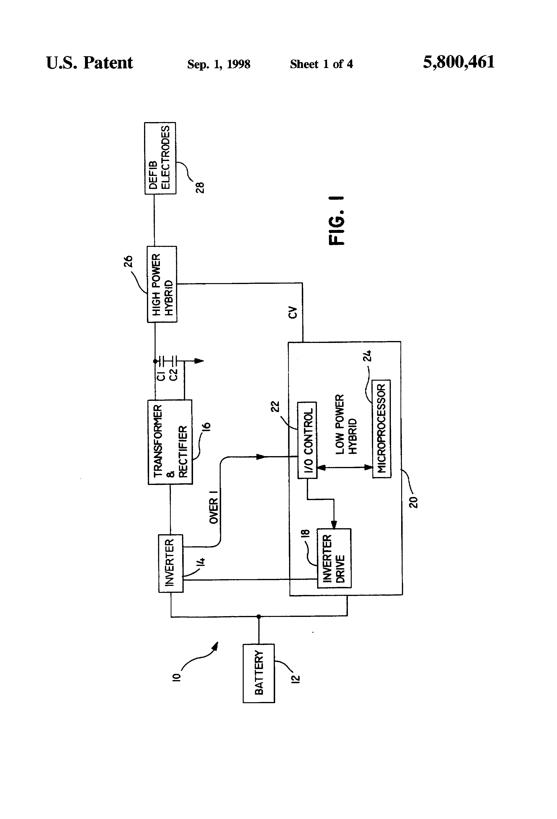 Patent Us5800461 Constant Charge Time Of Defibrillation Capacitor Circuit With Capacitors And A Battery Drawing