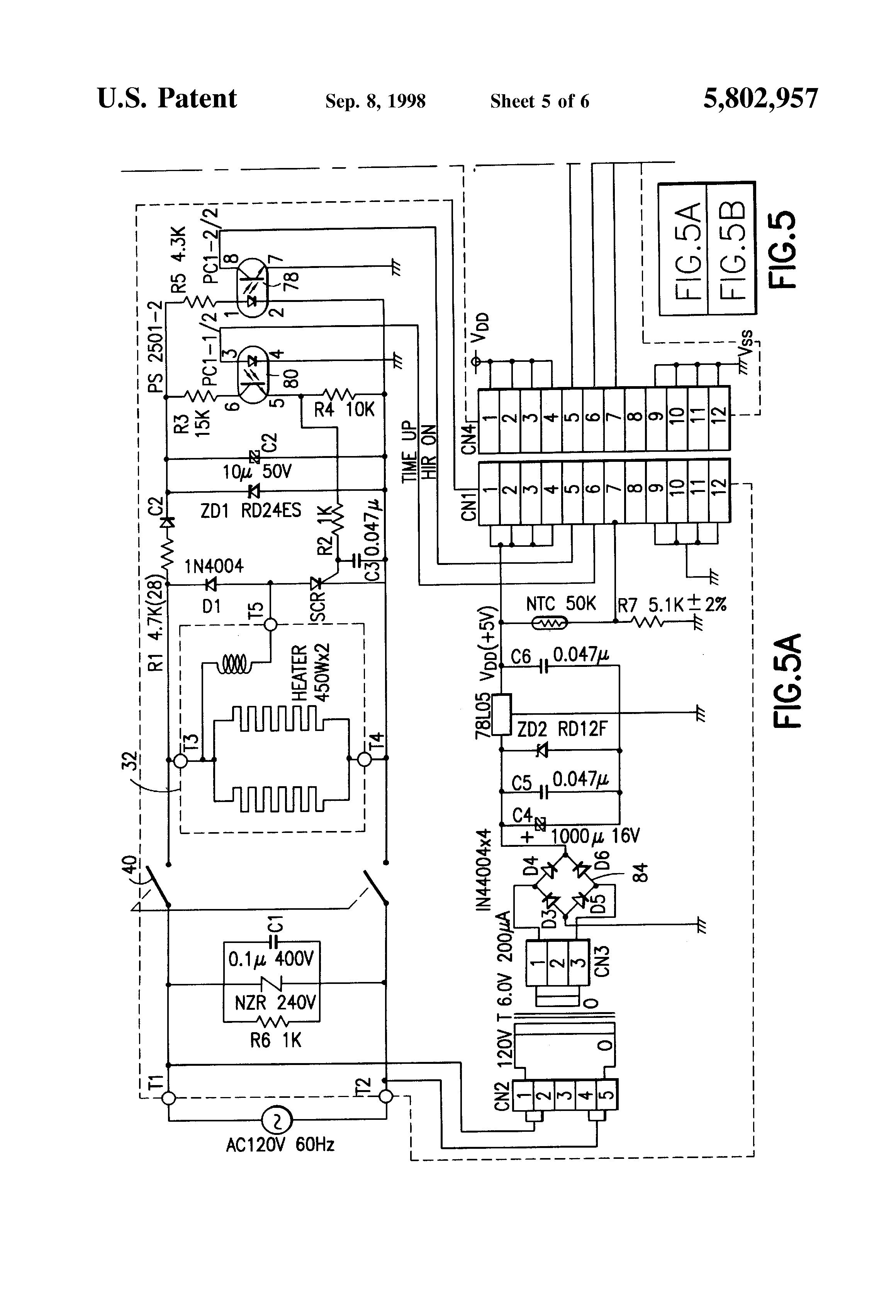 US5802957 5 patent us5802957 toaster shade control display google patents dualit toaster timer wiring diagram at arjmand.co