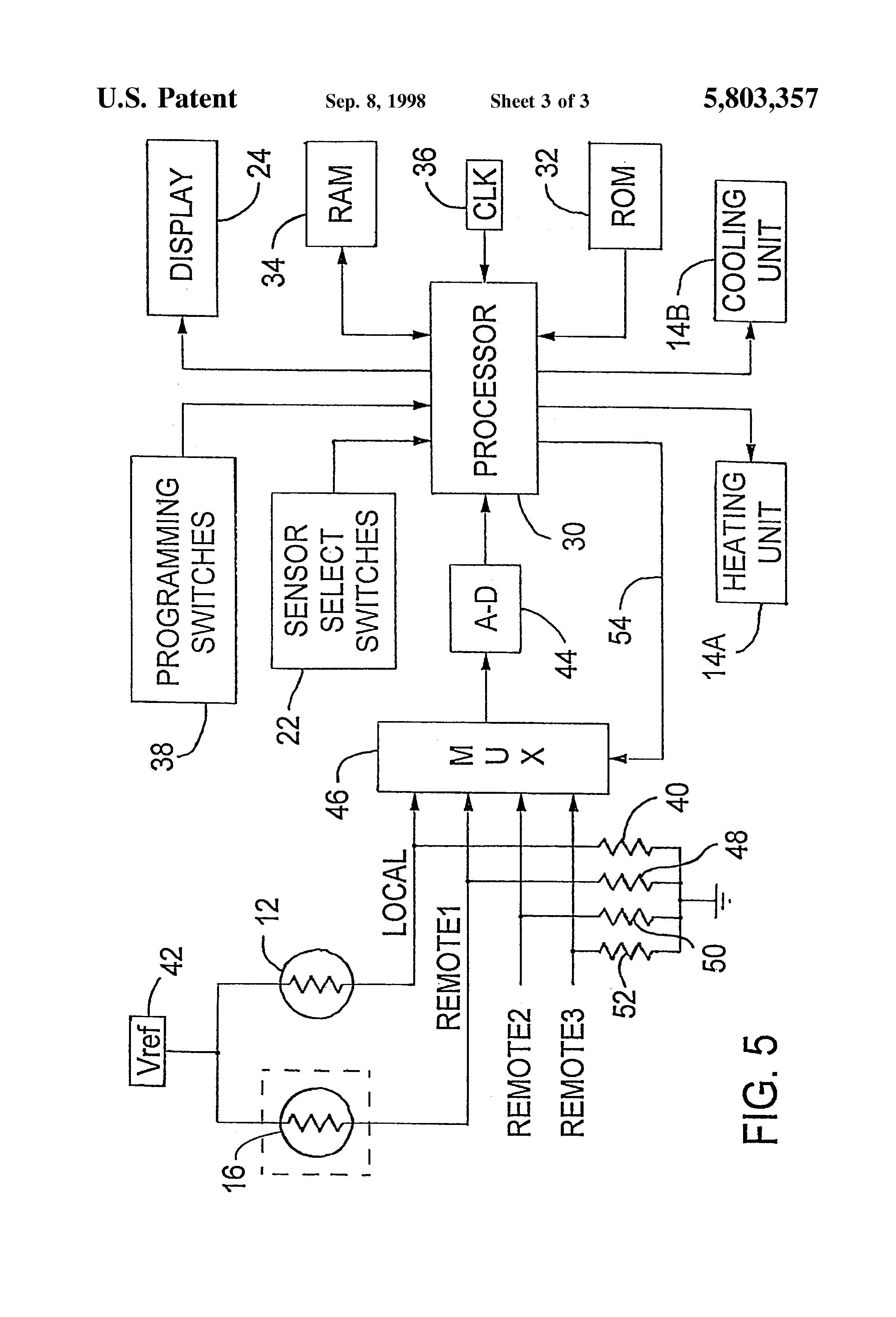 Patent US5803357 Thermostat with remote temperature sensors and  #3B3B3B