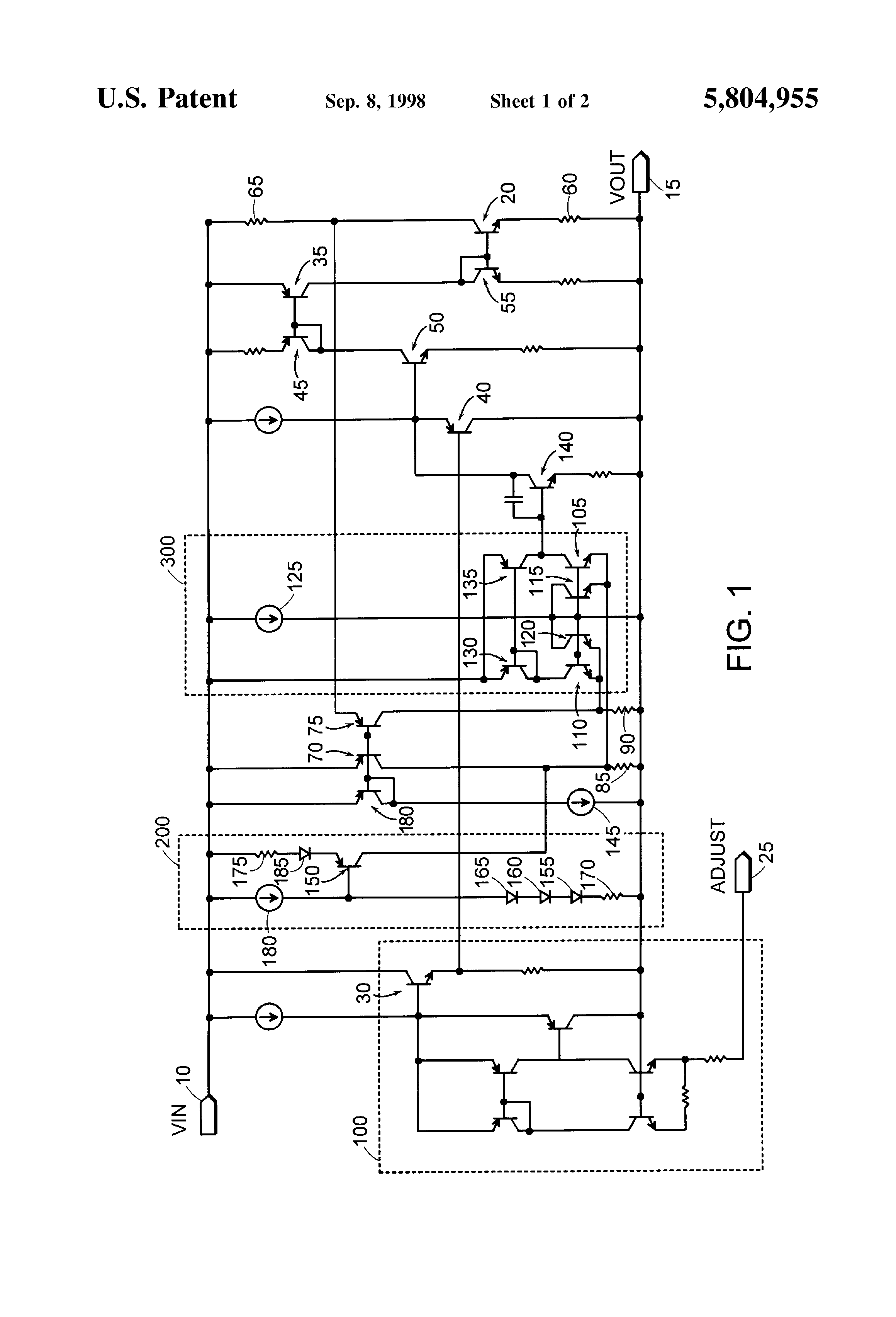Brevet Us5804955 Low Voltage Current Limit Circuit With Patent Drawing