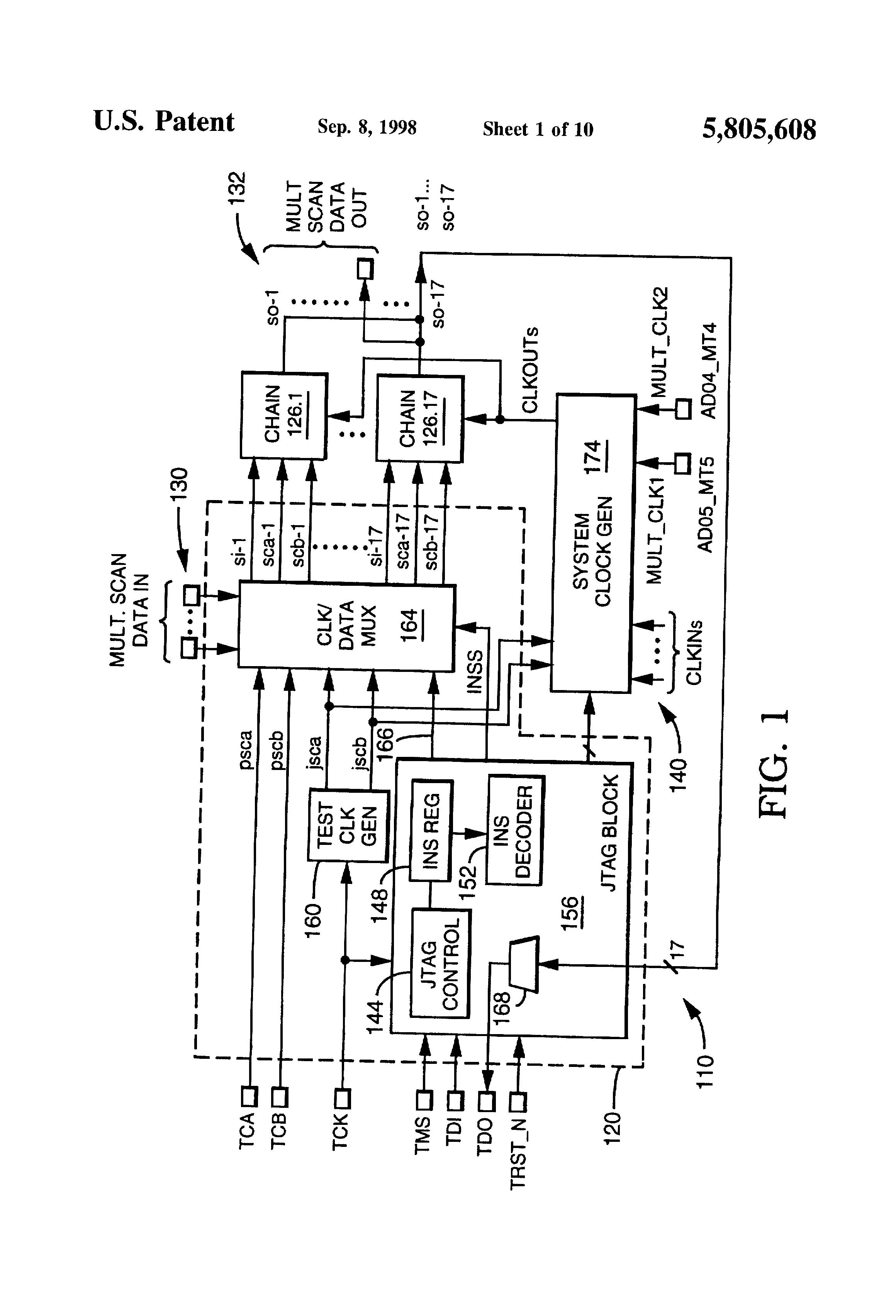 Brevet Us5805608 Clock Generation For Testing Of Integrated Block Diagram Ks1 Patent Drawing
