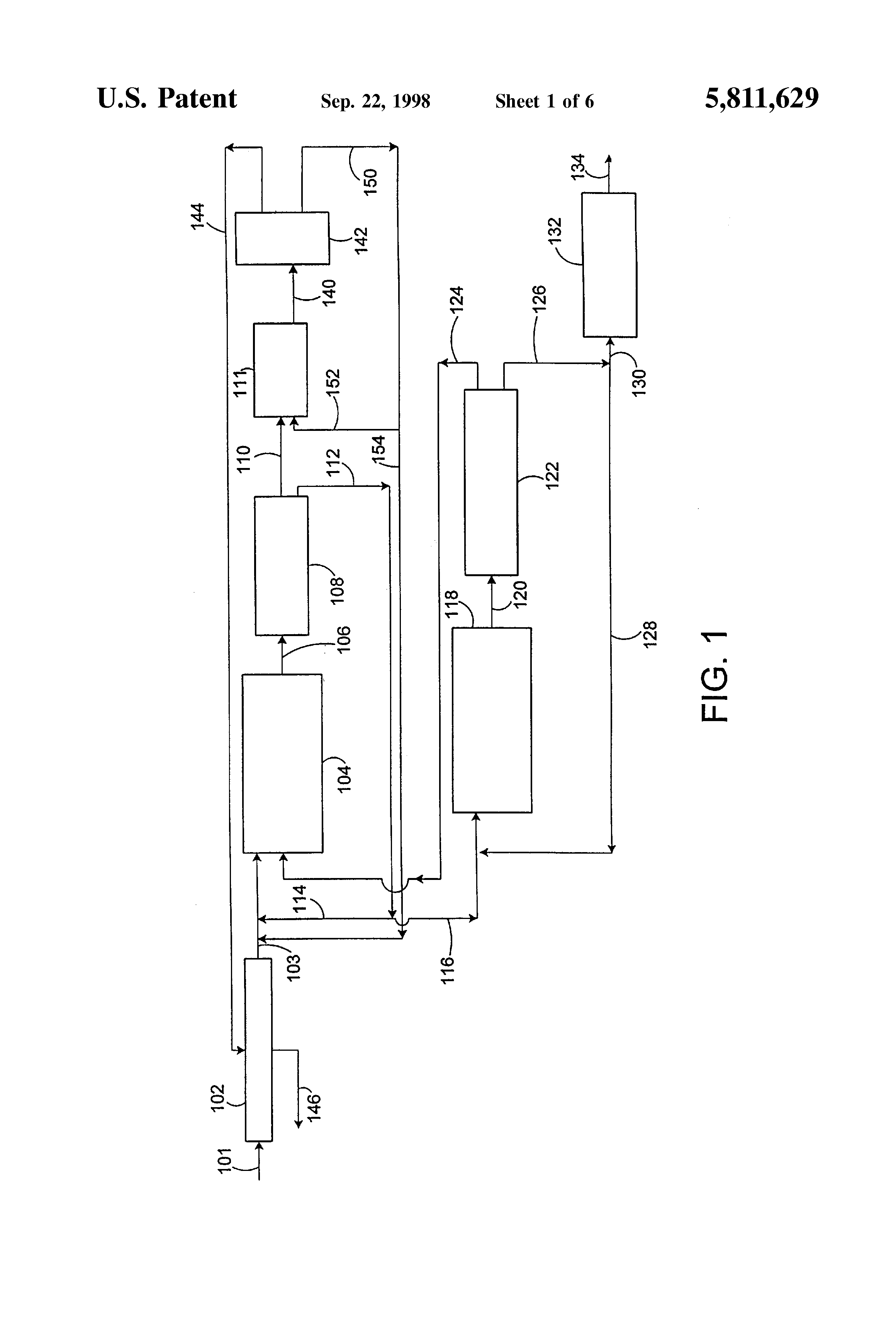 Patent Us5811629 Crystallization Process For Purification Of Flow Diagram Xylene Drawing