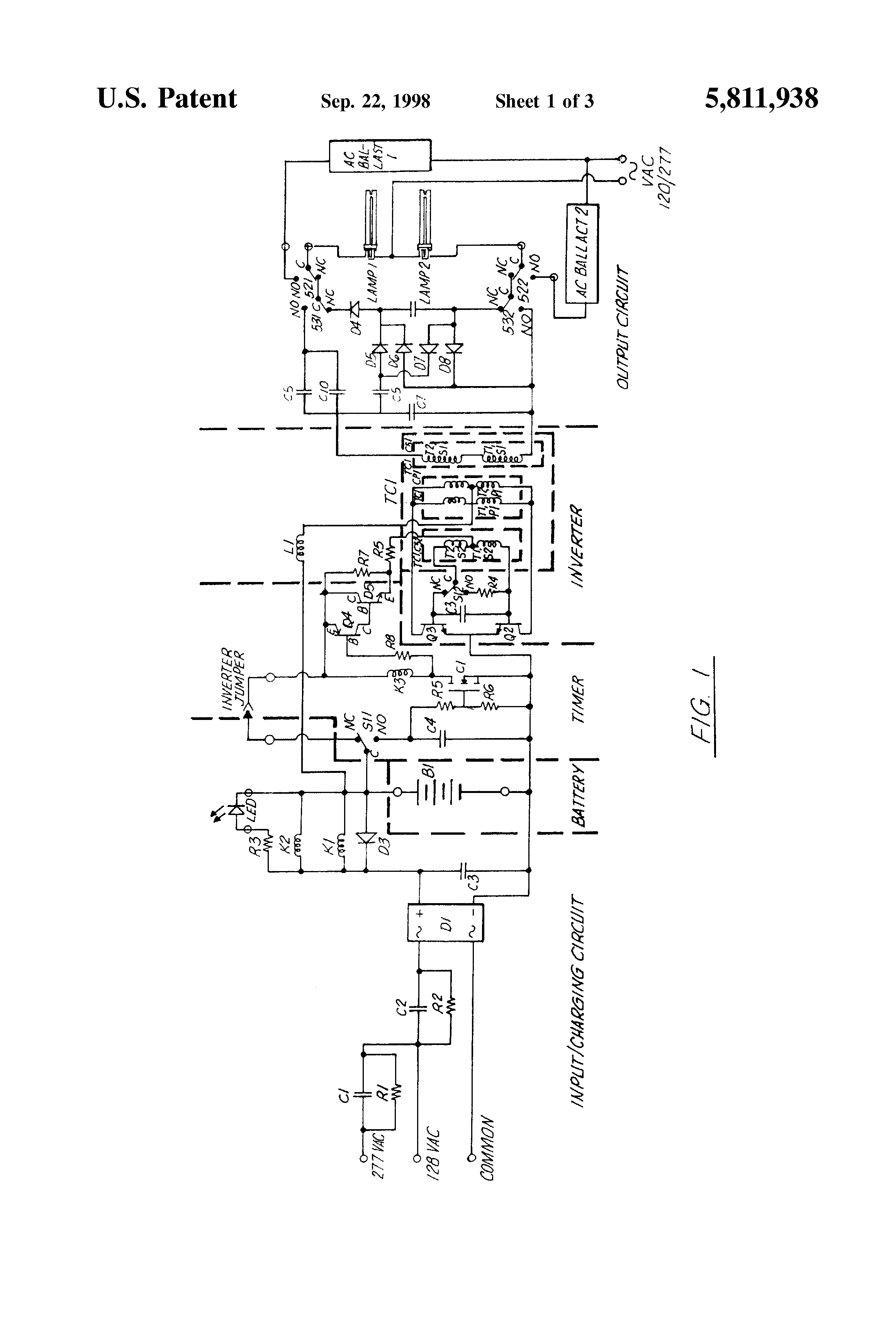emergency ballast wiring schematic emergency image patent us5811938 emergency lighting ballast for starting and on emergency ballast wiring schematic