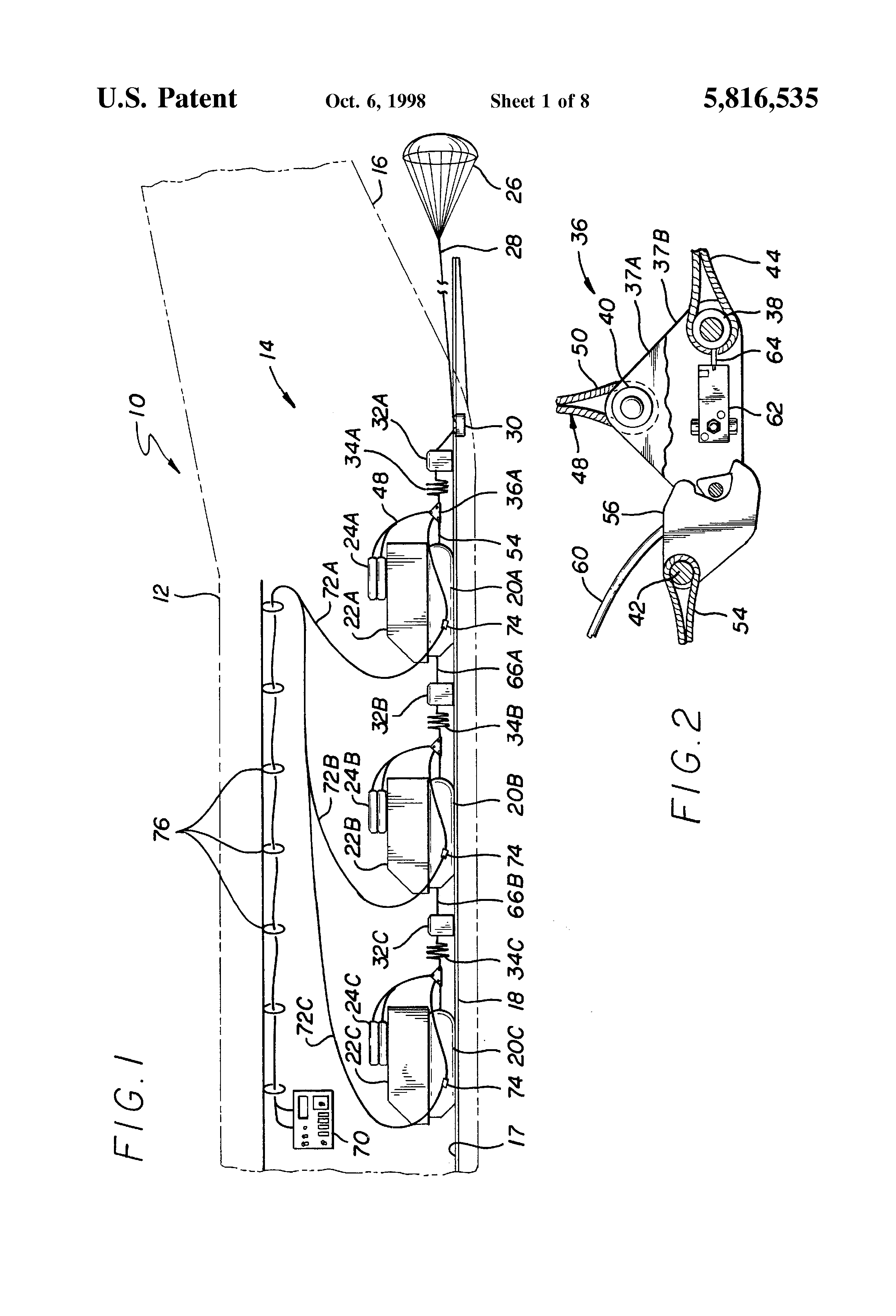 patent us5816535 - emergency cargo extraction parachute jettison system