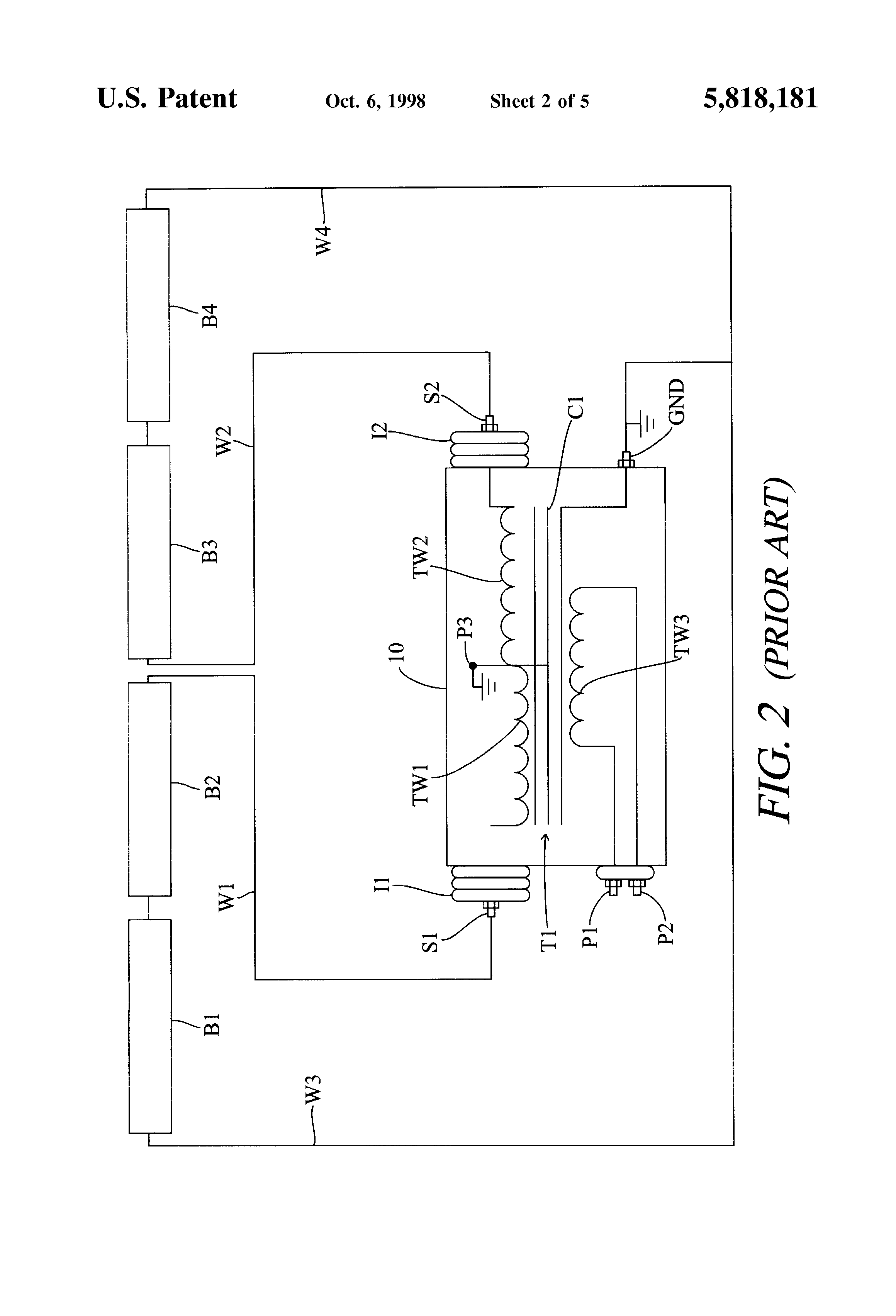 US5818181 2 patent us5818181 neon lamp isolation transformer for mid point Microwave Transformer Wiring Diagram at gsmx.co