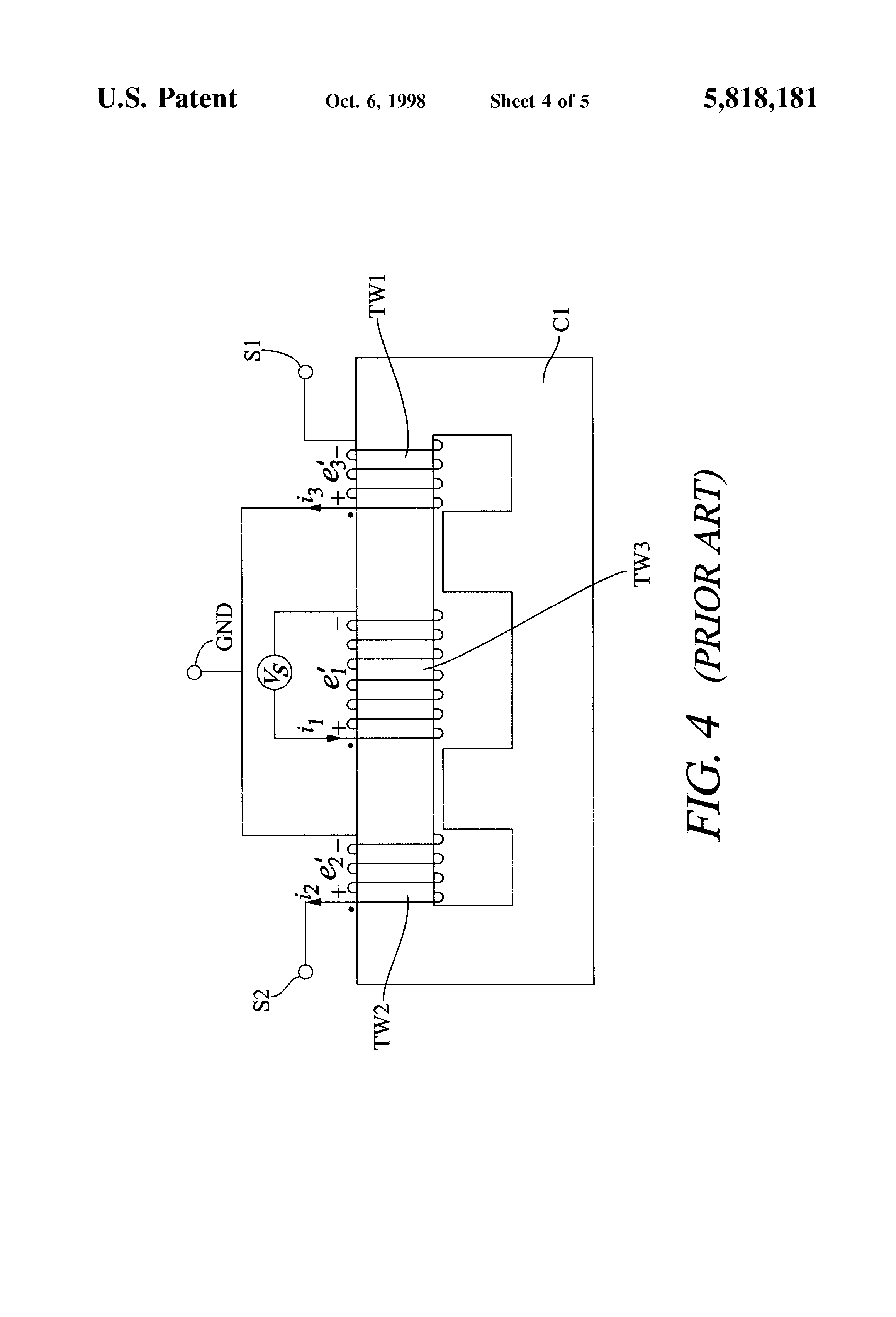 US5818181 4 patent us5818181 neon lamp isolation transformer for mid point Microwave Transformer Wiring Diagram at gsmx.co