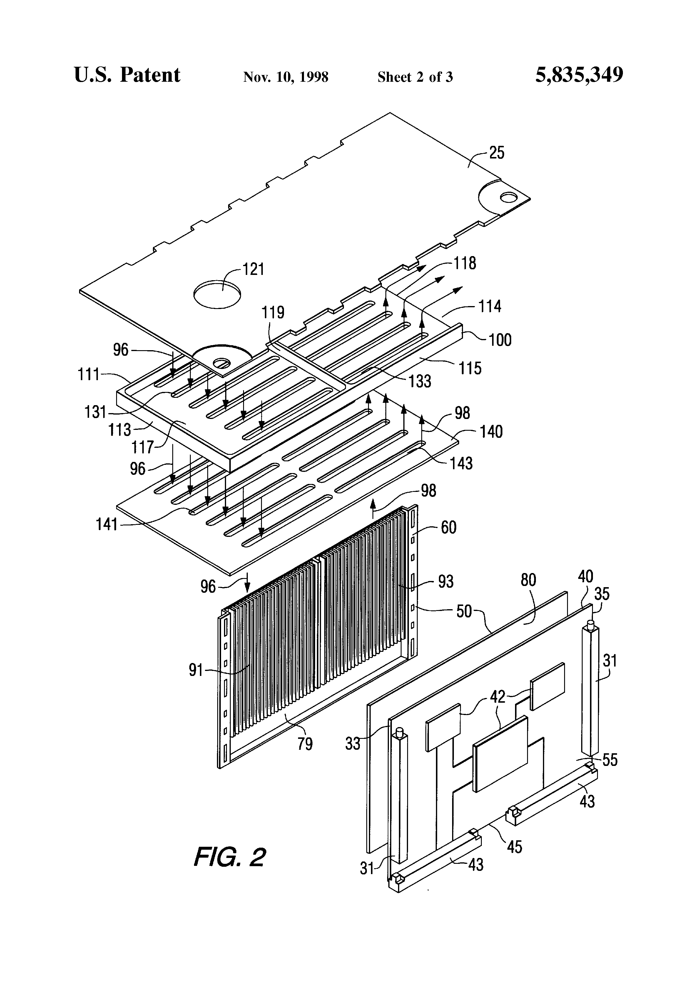patent us5835349 - printed circuit board-mounted  sealed heat exchanger