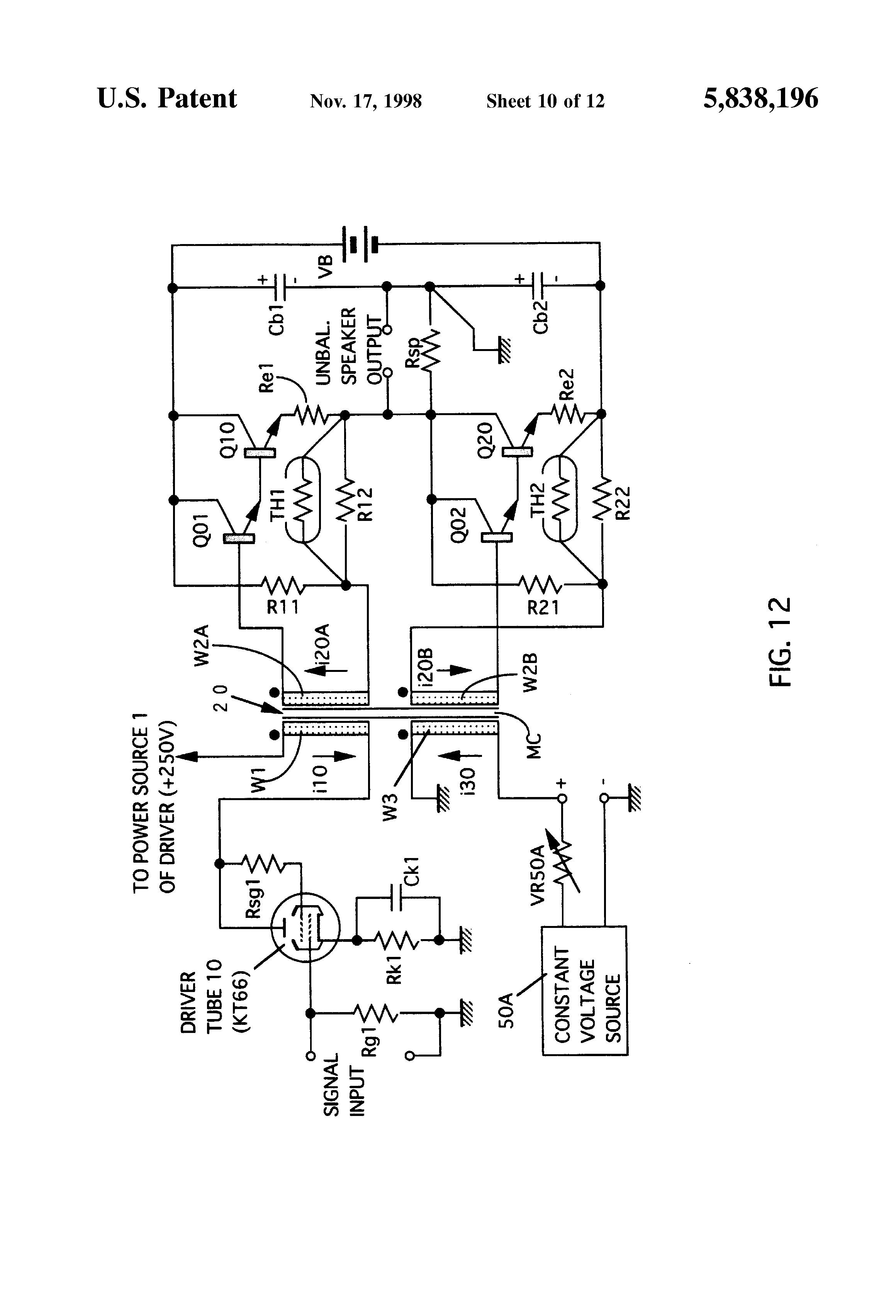 patent us5838196 - transformer-coupled amplifier