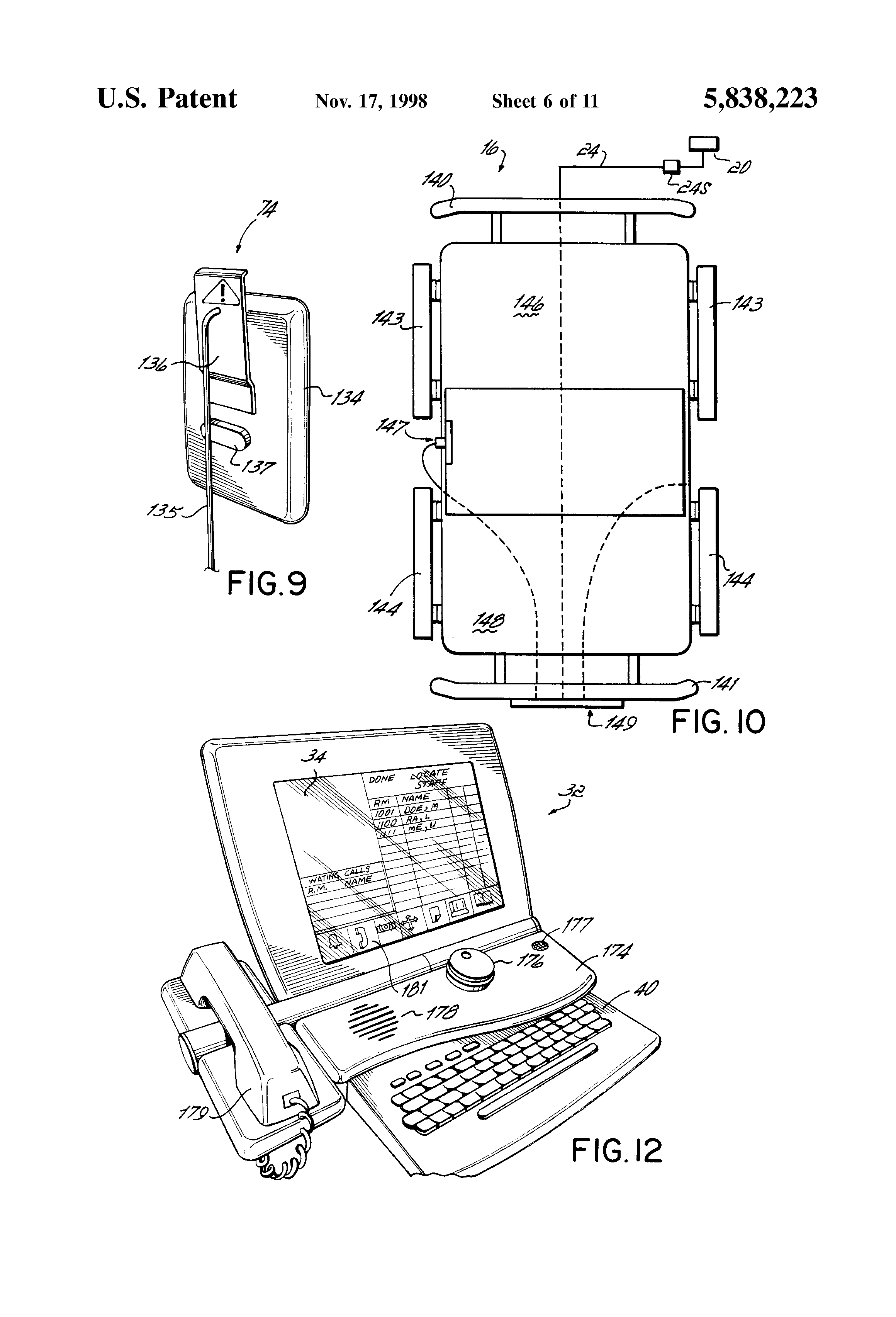 patent us5838223 - patient  nurse call system