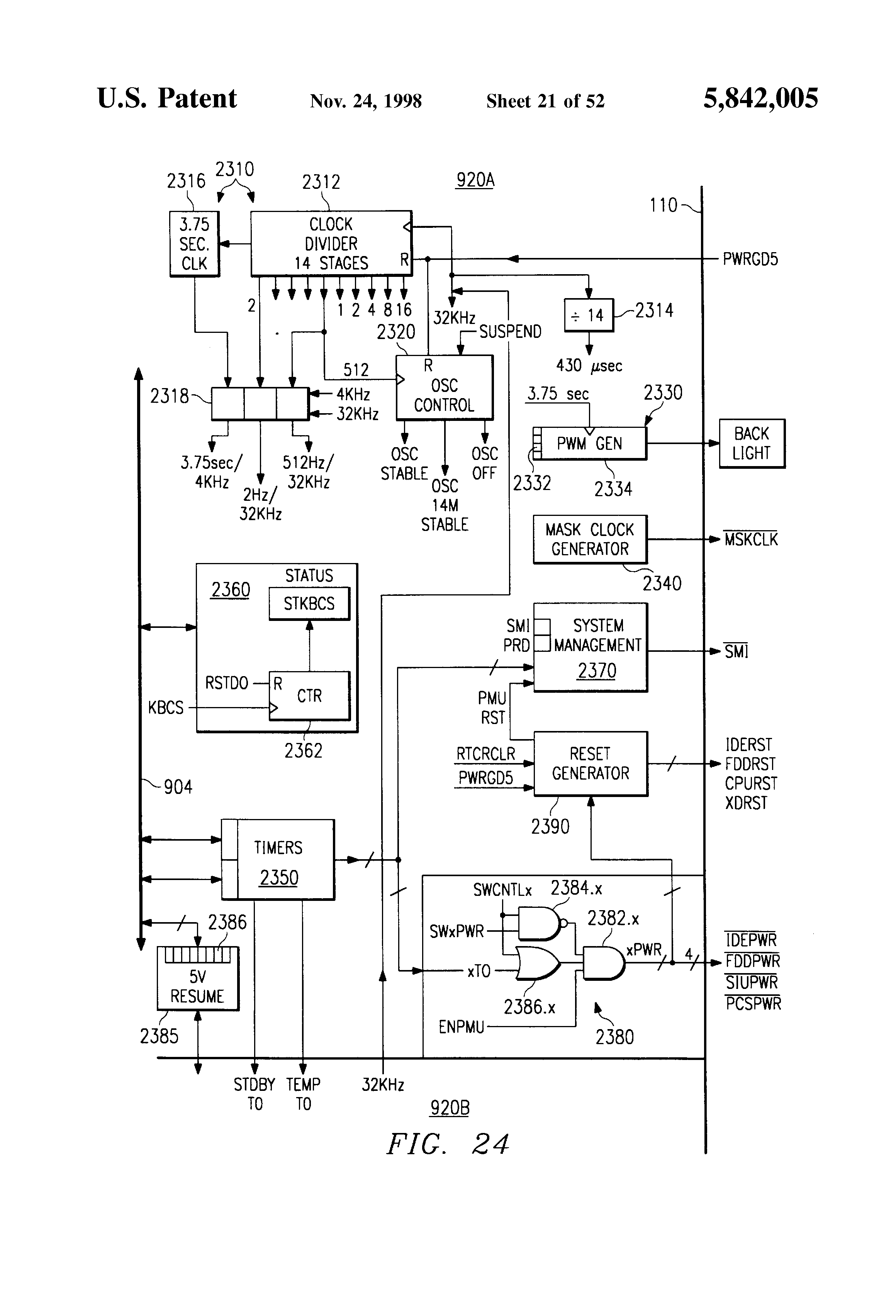 Patent Us5842005 Clock Control Circuits Systems And Methods Circuit Board Background Raster Version Abstract 3d Cpu Drawing