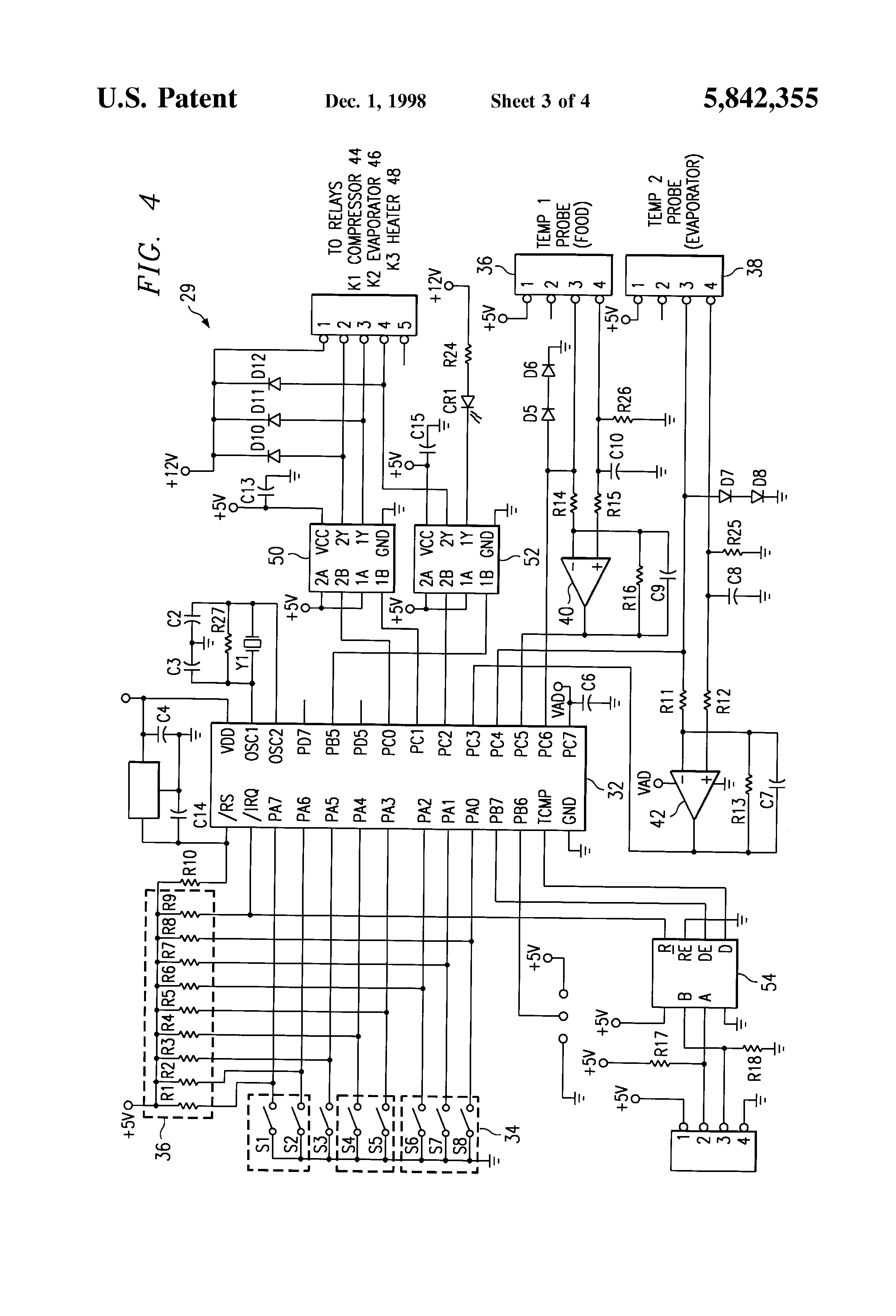 Patent Us5842355 Defrost Control System For A Refrigerator Fig1 Wiring Diagram Typical Fridge Compressor Note The Over Drawing