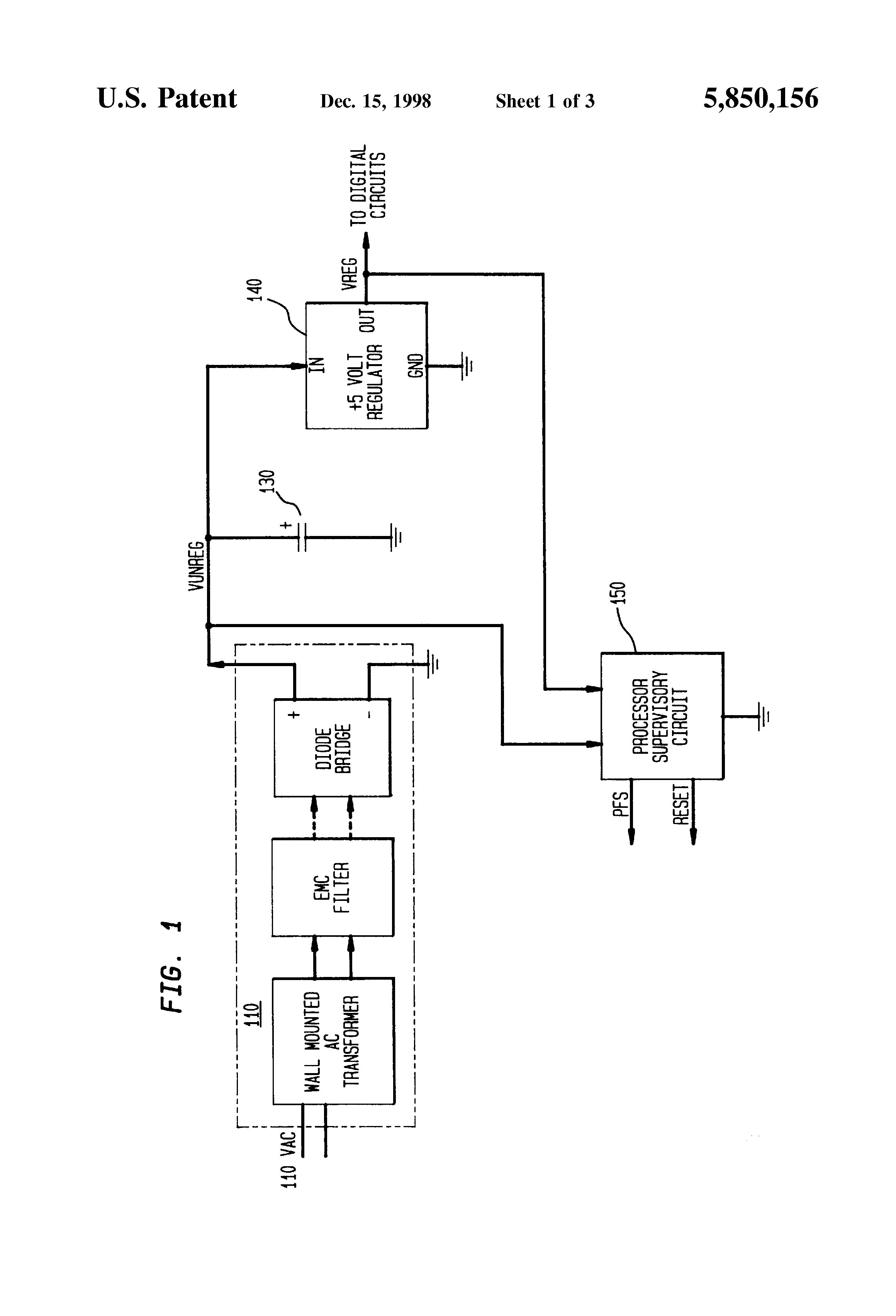 Patent Us5850156 Processor Supervisory Circuit And Method Having 5 Volt Diagram Drawing