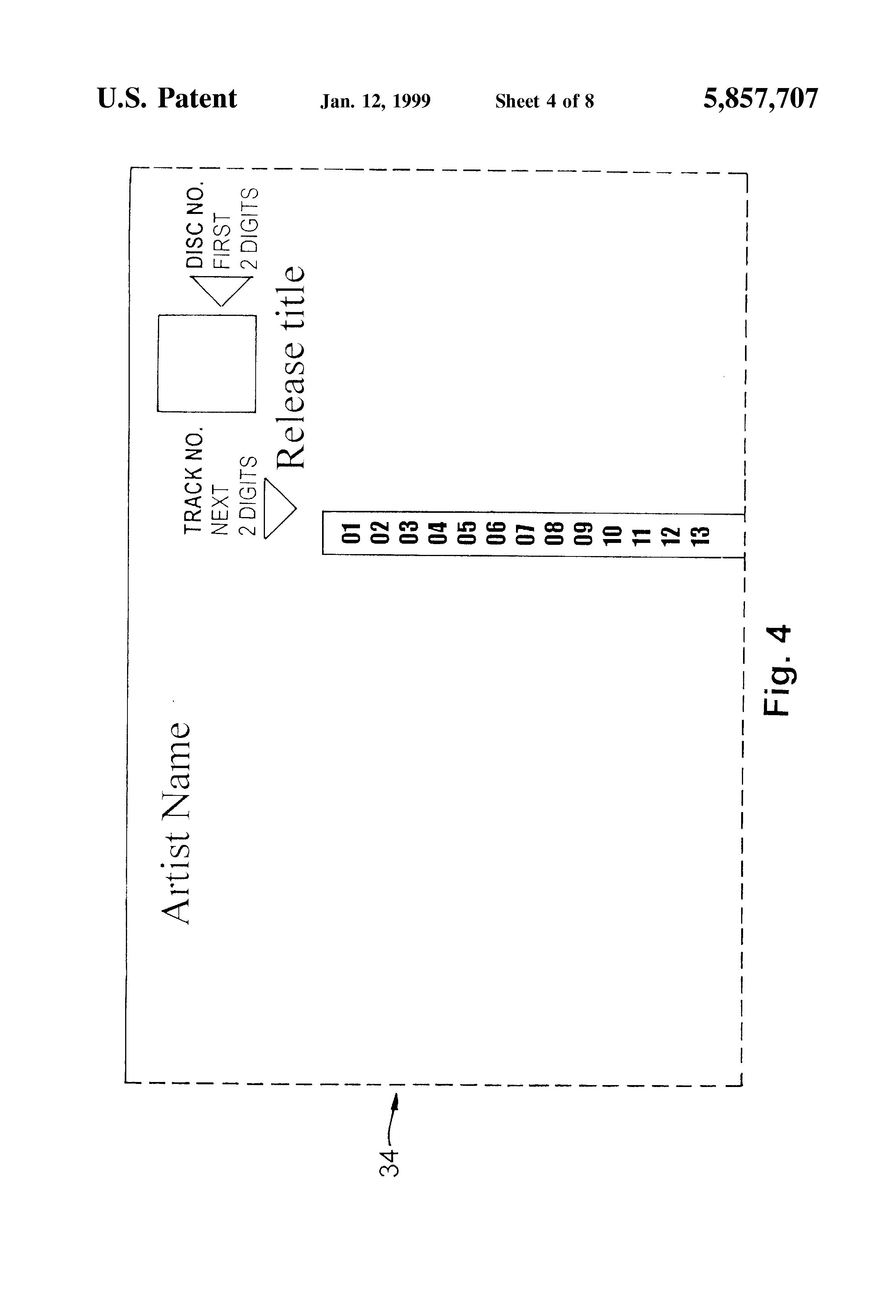 patent us5857707 jukebox display strip and method of making same