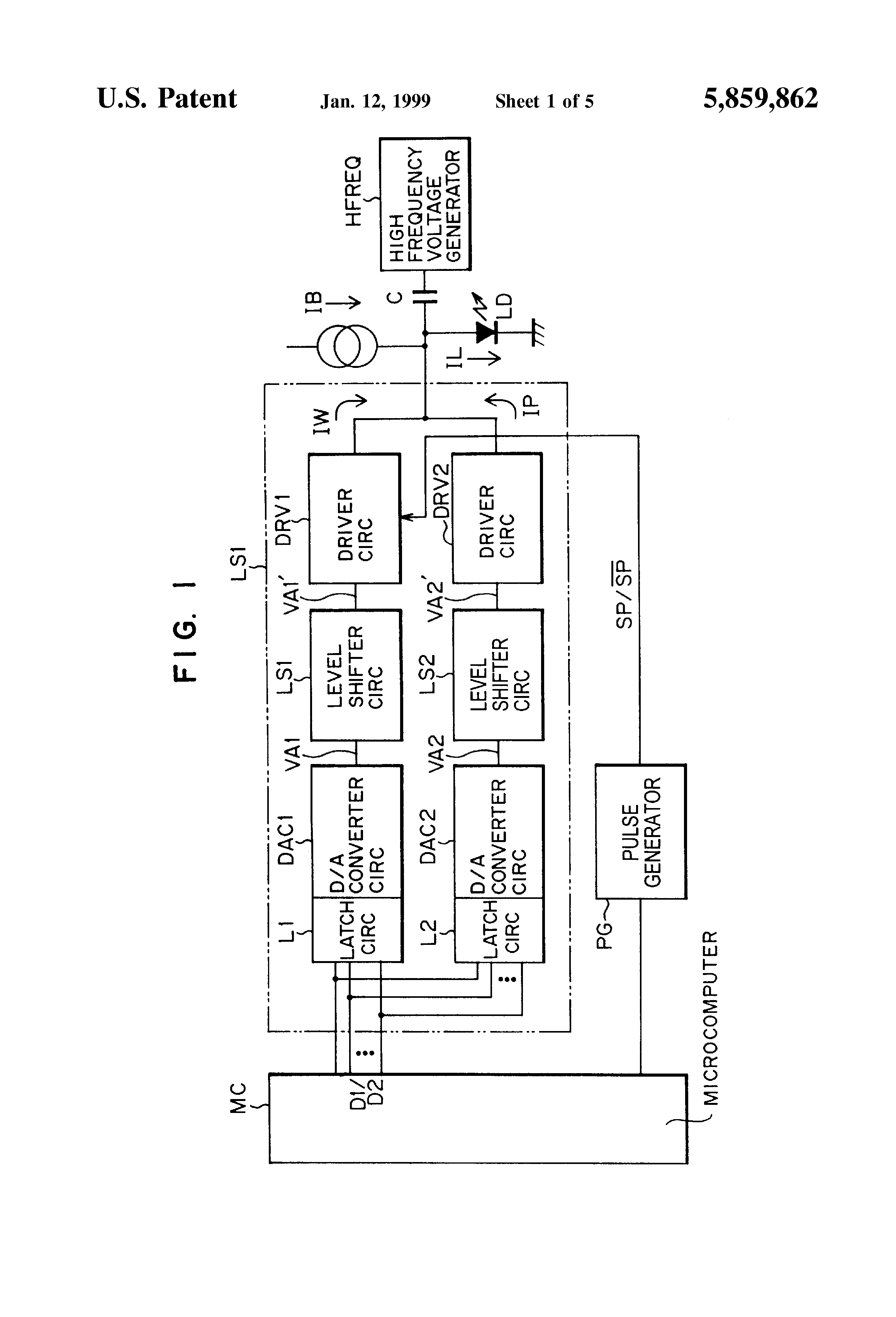 Patent Us5859862 Optical Recording Reproducing Apparatus Having Laser Diode Driver Circuit 1 A Current Suppressing Is Provided For Supplying Suppression To The Images5 Drawing