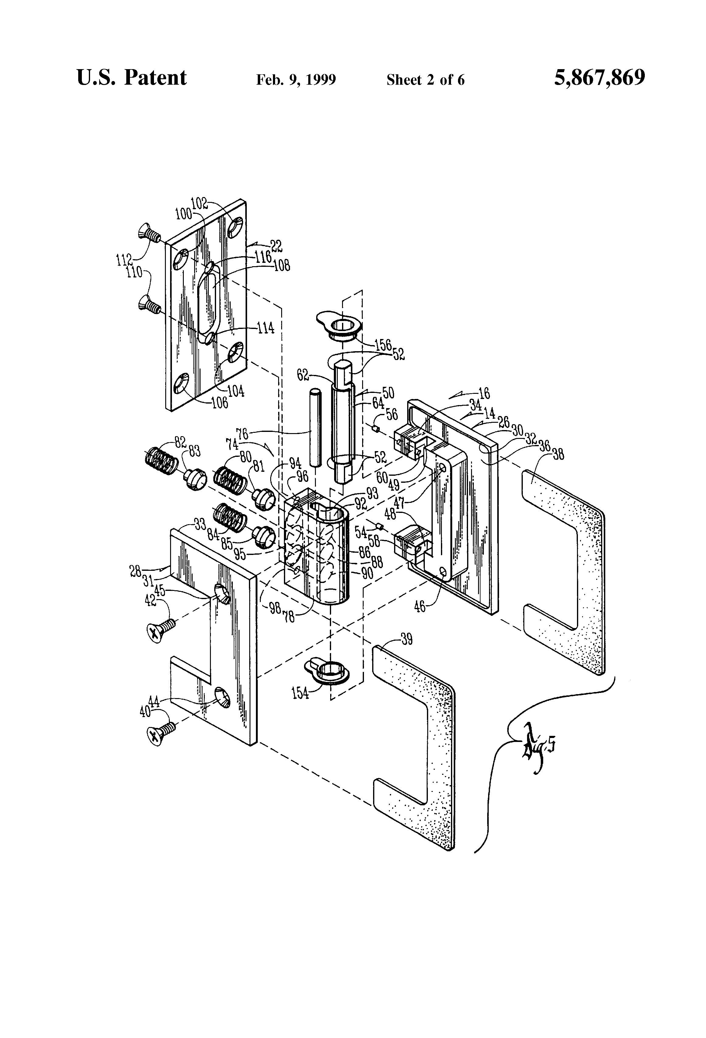 Patent Us5867869 Pressure Hinge Device For Glass Door Or