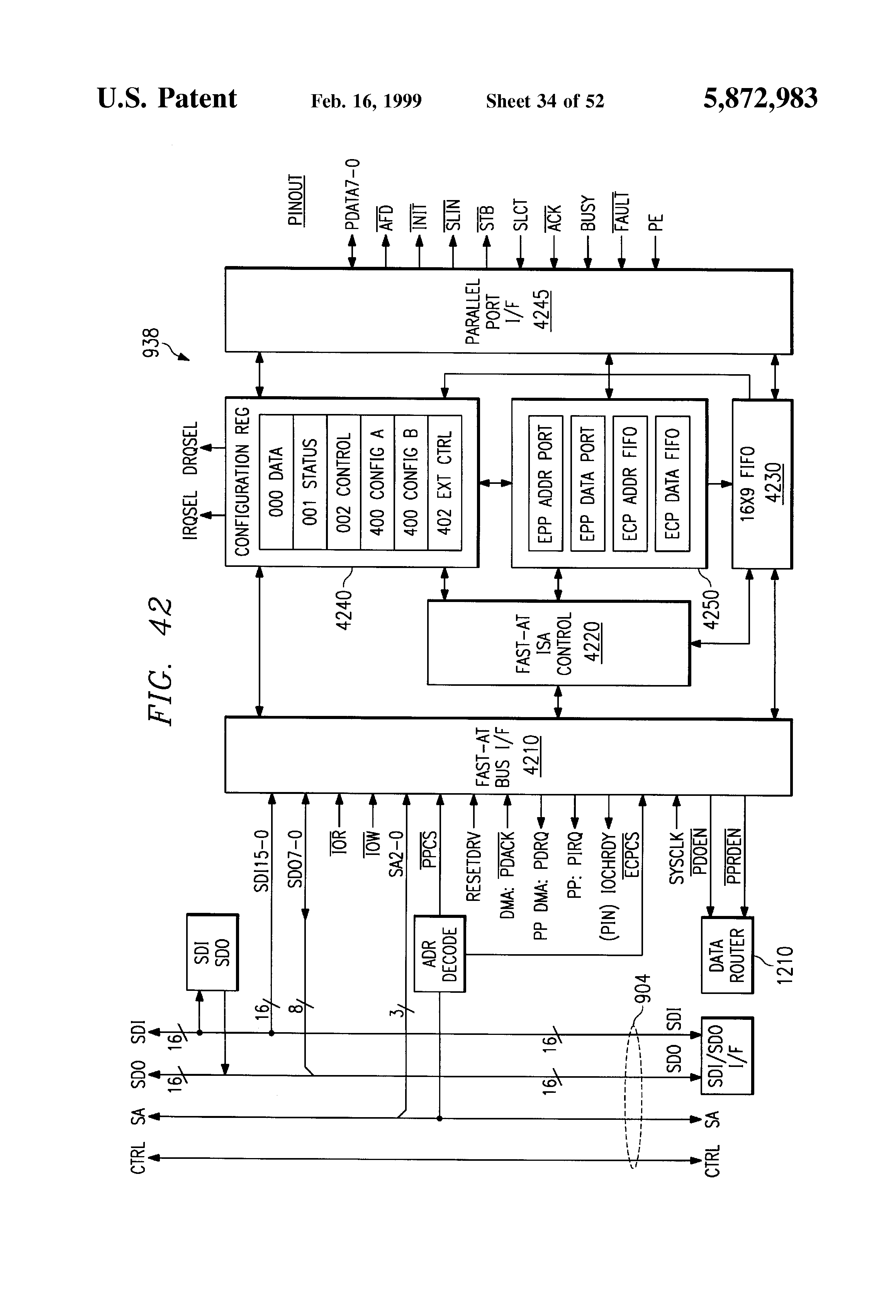 patent us5872983 power management interface system for use patent drawing