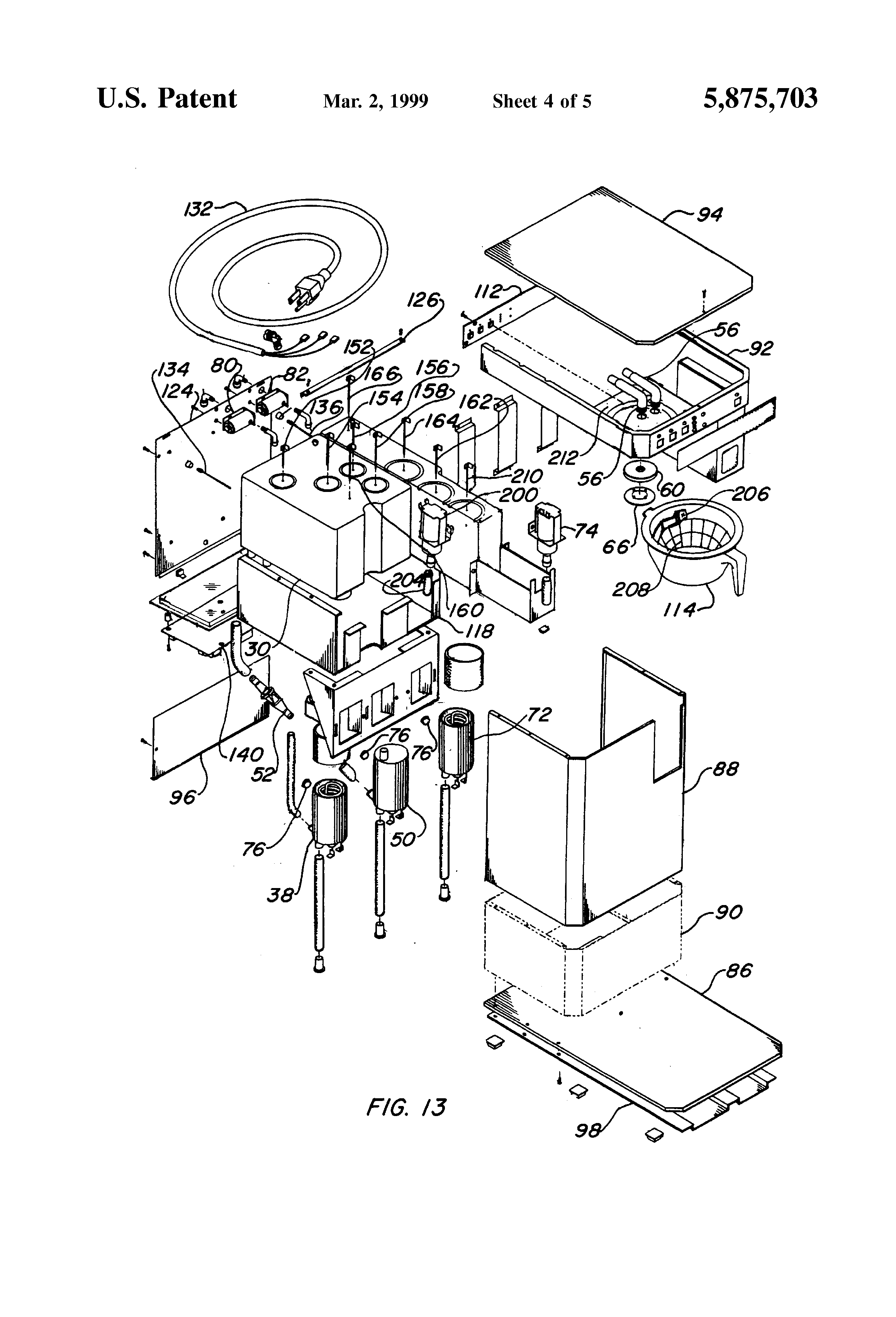 patent us5875703 - coffee brewer and hot water dispenser