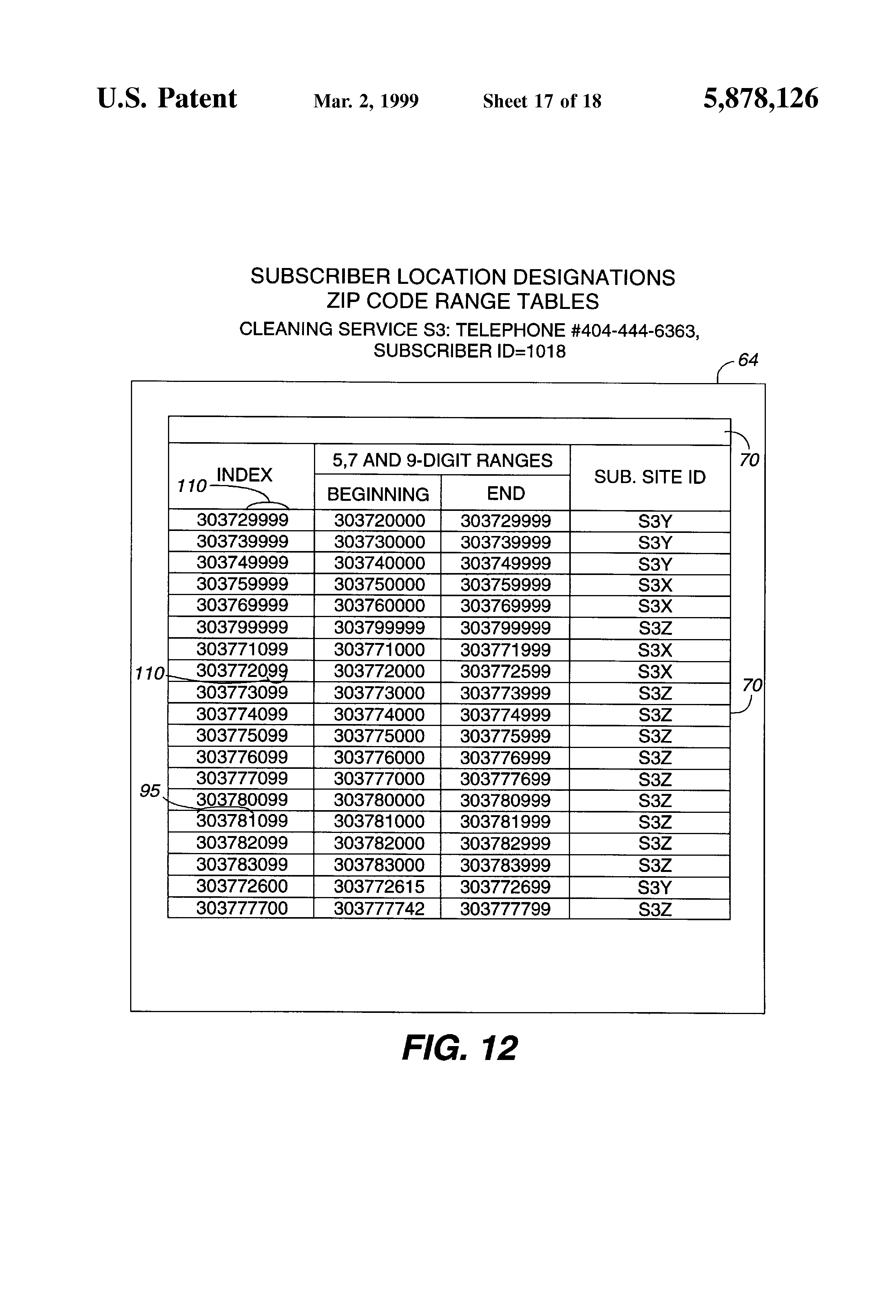 Patent US Method For Routing A Call To A Destination - Us zip code range