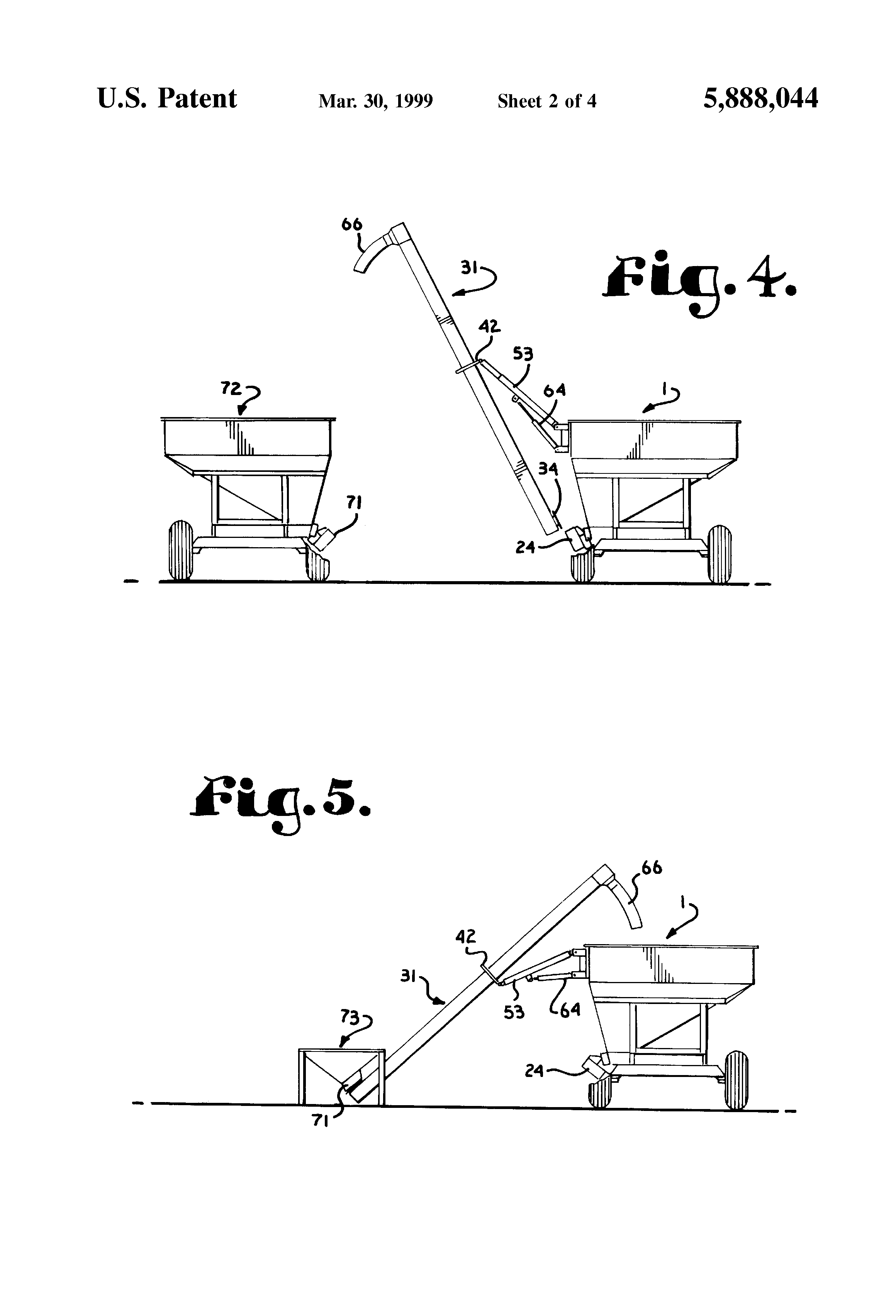patent us5888044 seed cart loading unloading conveyor patent drawing