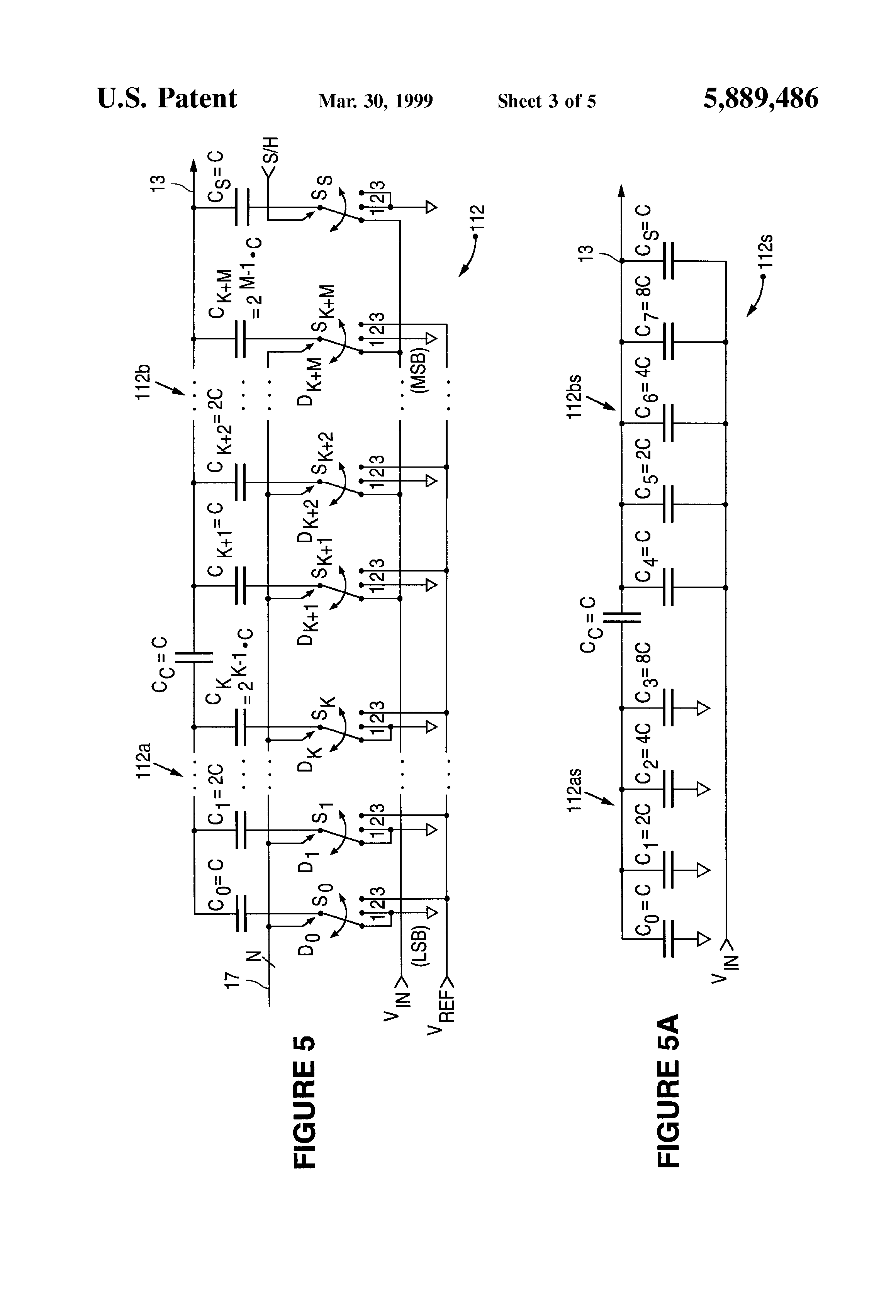 patent us5889486 - split capacitor array for digital-to-analog signal conversion