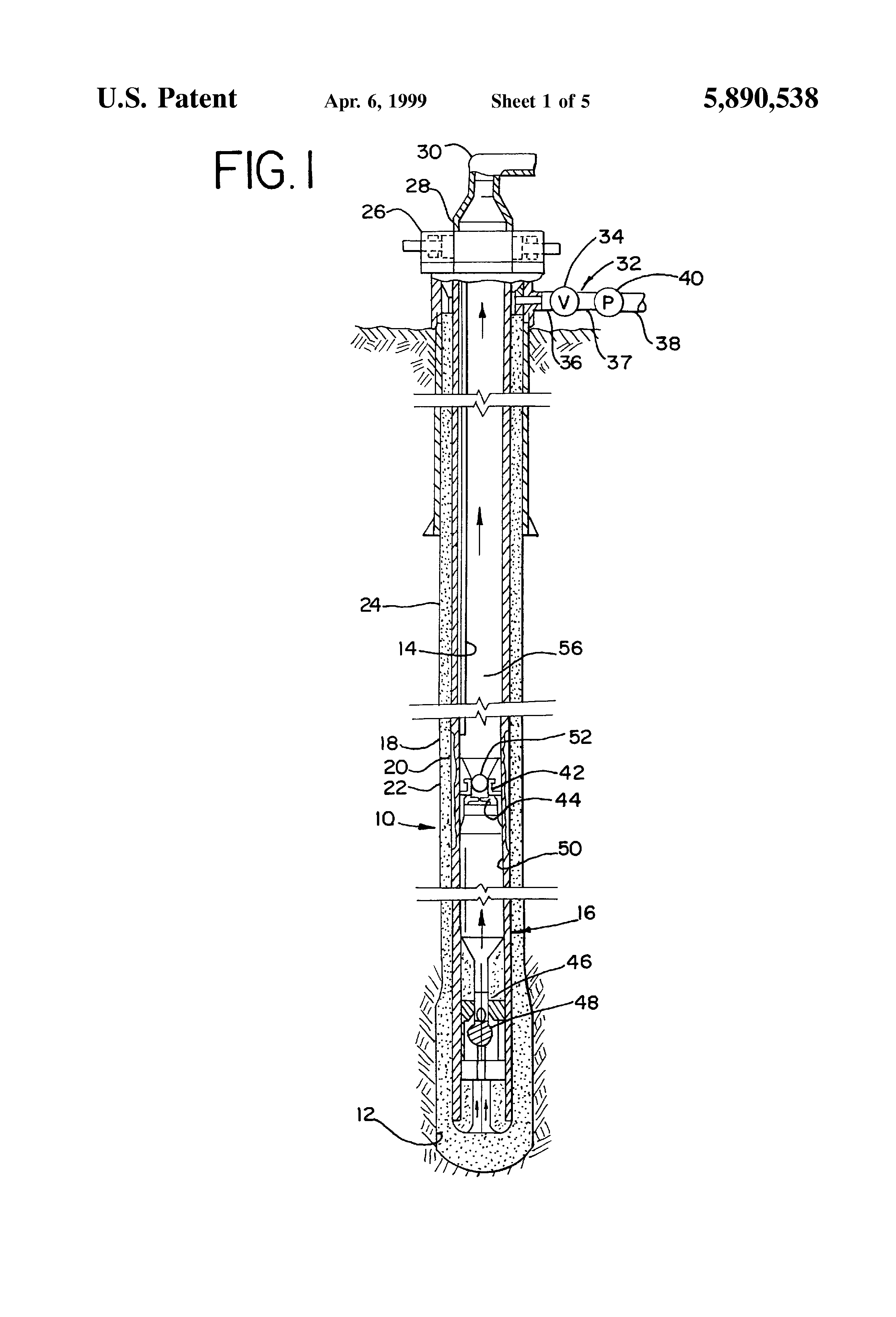 patent us5890538 - reverse circulation float equipment tool and process