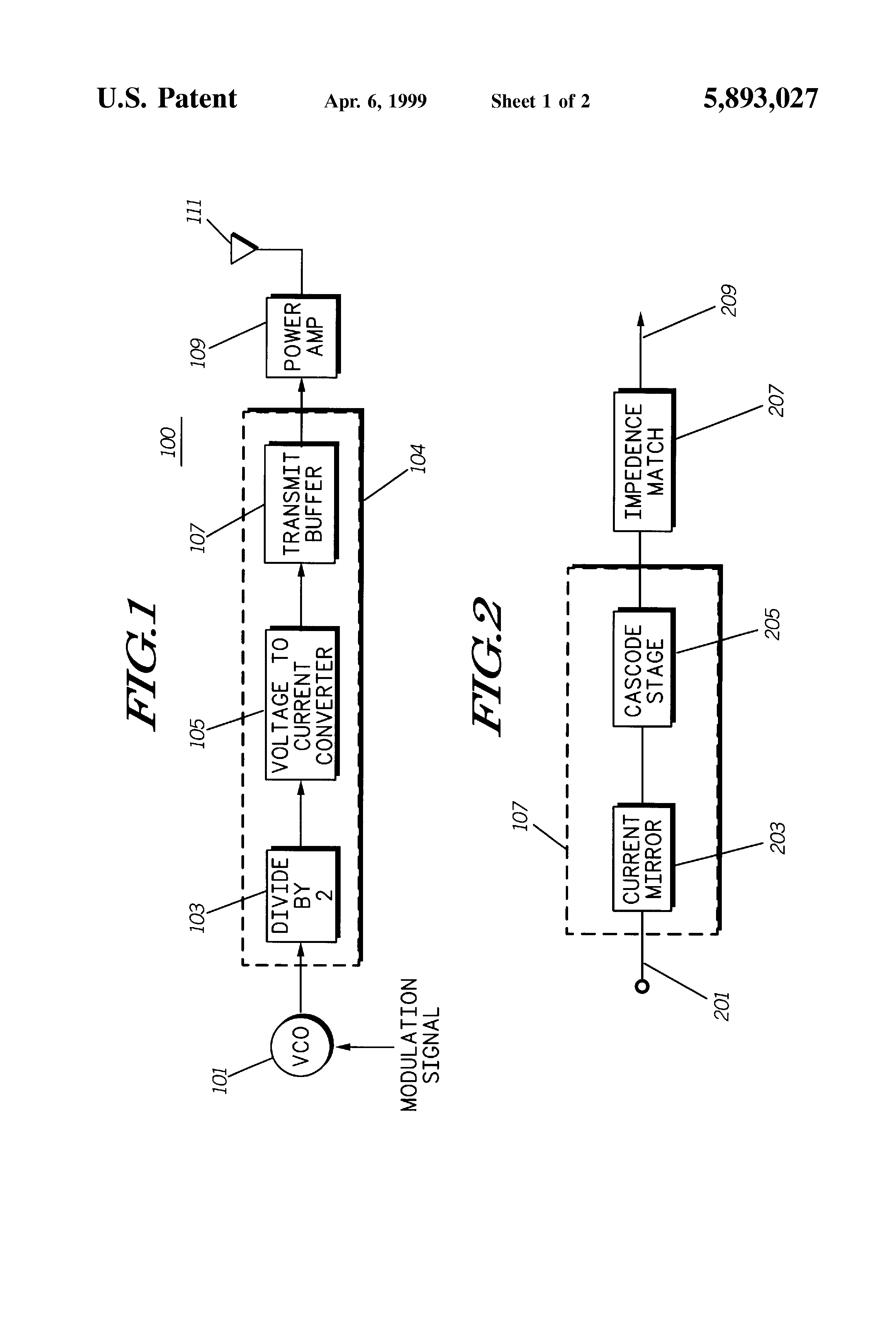 Patent Us5893027 Fully Integrated Two Way Radio Transmitter How To Use Vco Buffer For Isolating Oscillator Circuits Output Drawing