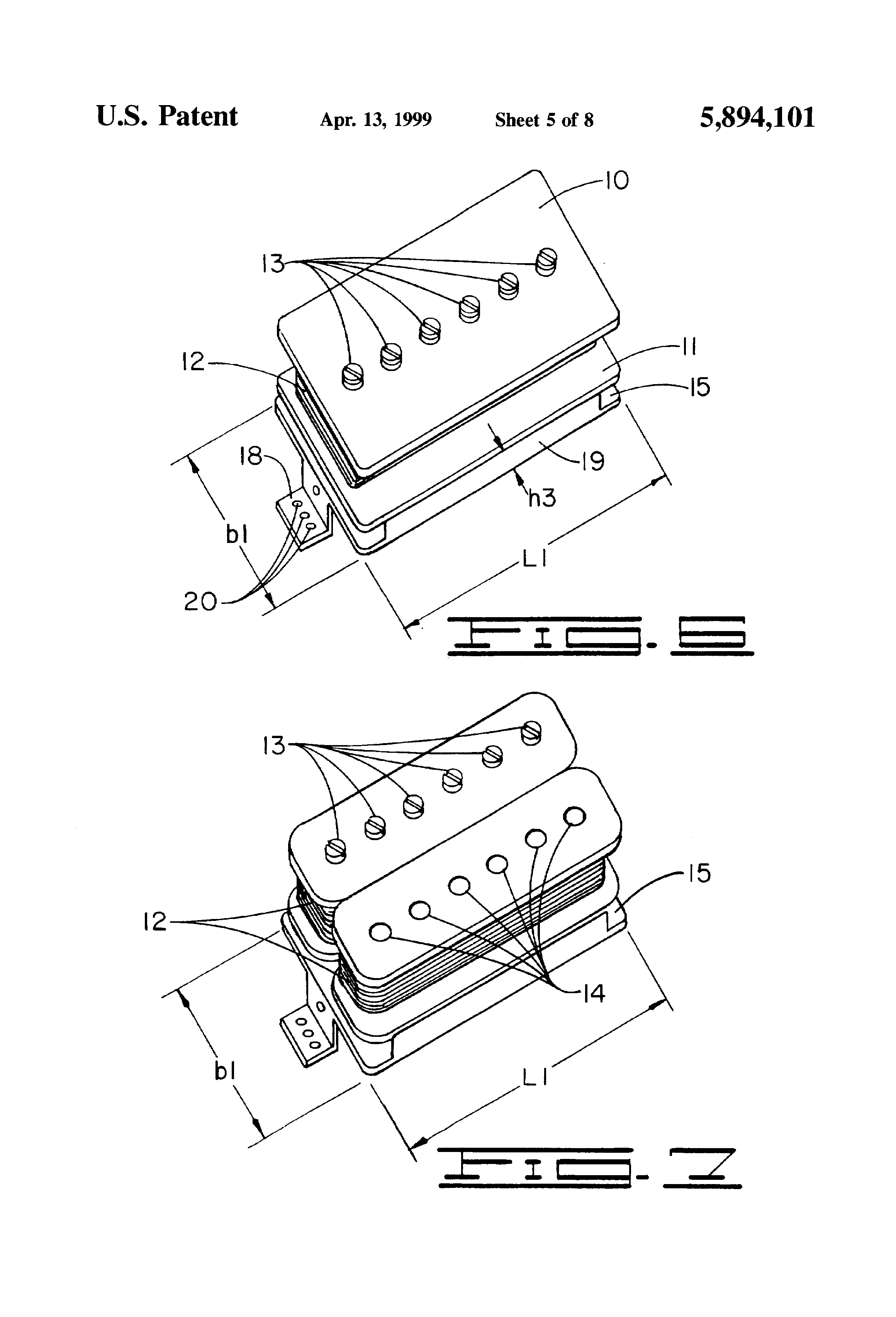 patent us5894101 - single-coil electric guitar pickup with humbucking-sized housing