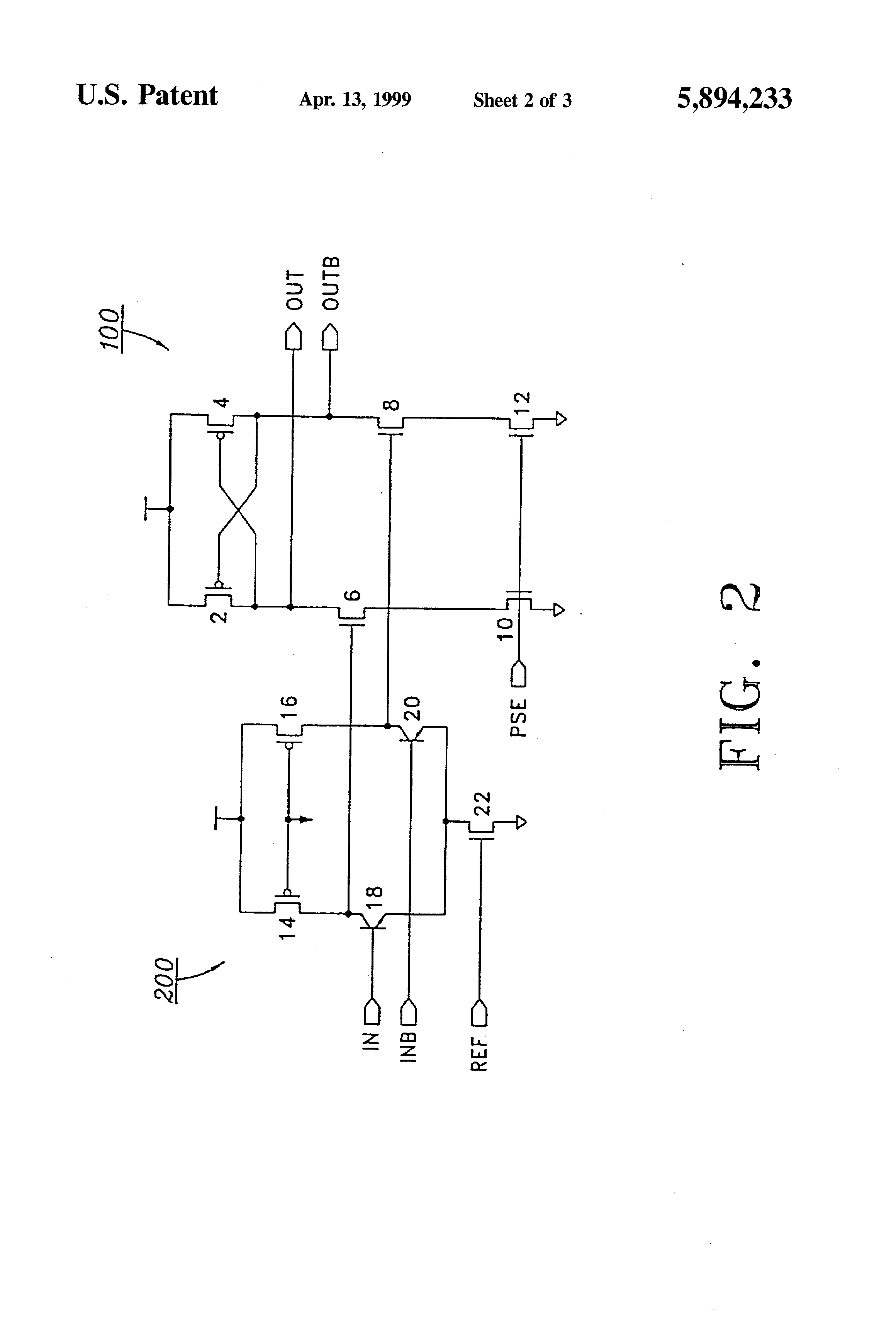 Patent Us5894233 Sense Amplifiers Including Bipolar Transistor Input And Output Coupling Junction Transistors Electronics Drawing