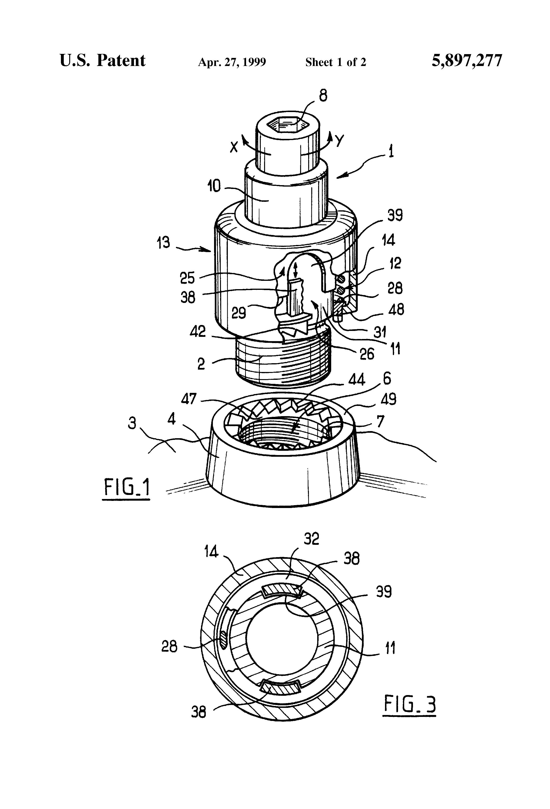 patent us5897277 - self-locking obturating device