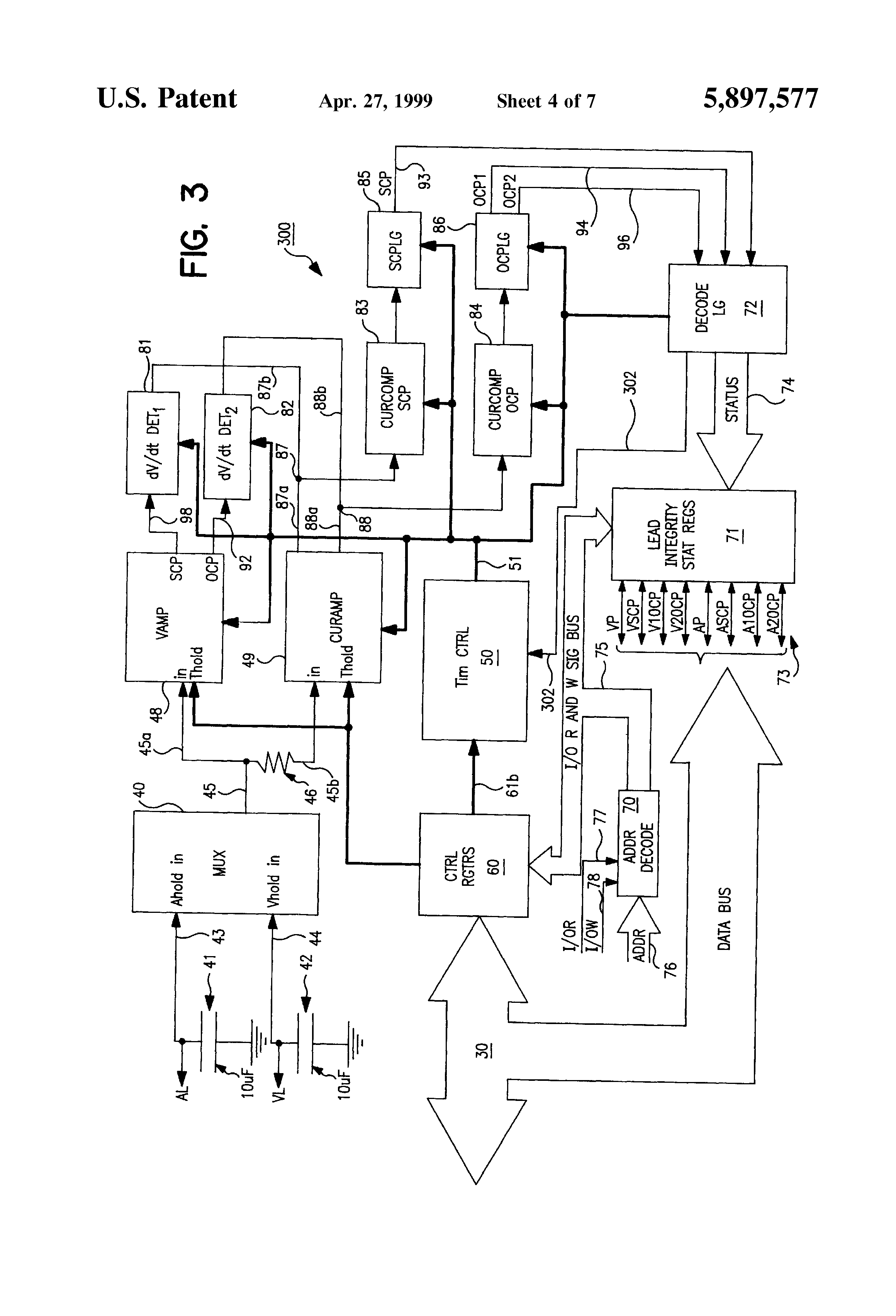 patent us5897577 - pacing lead impedance monitoring circuit and method