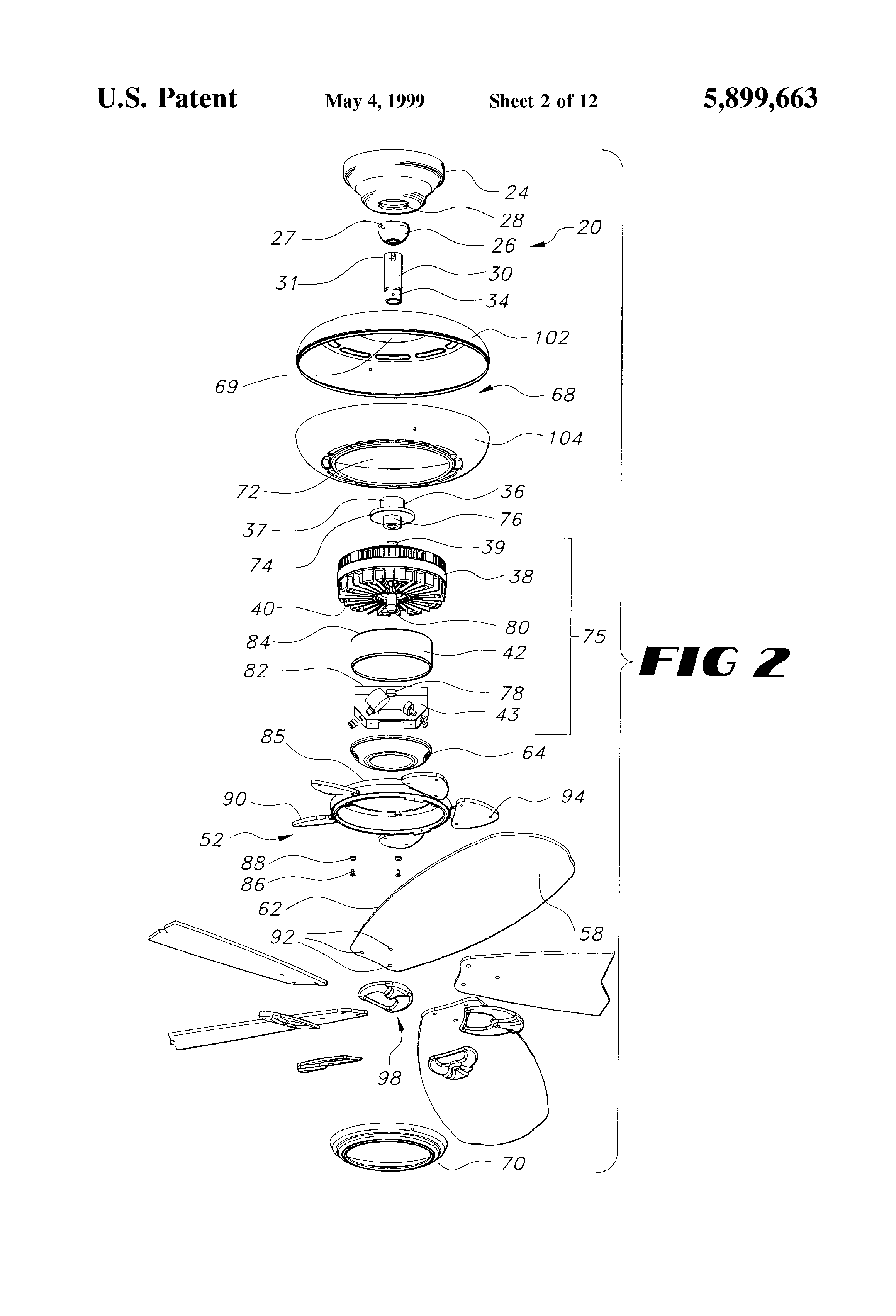 Ceiling Fan Assembly: Patent Drawing,Lighting