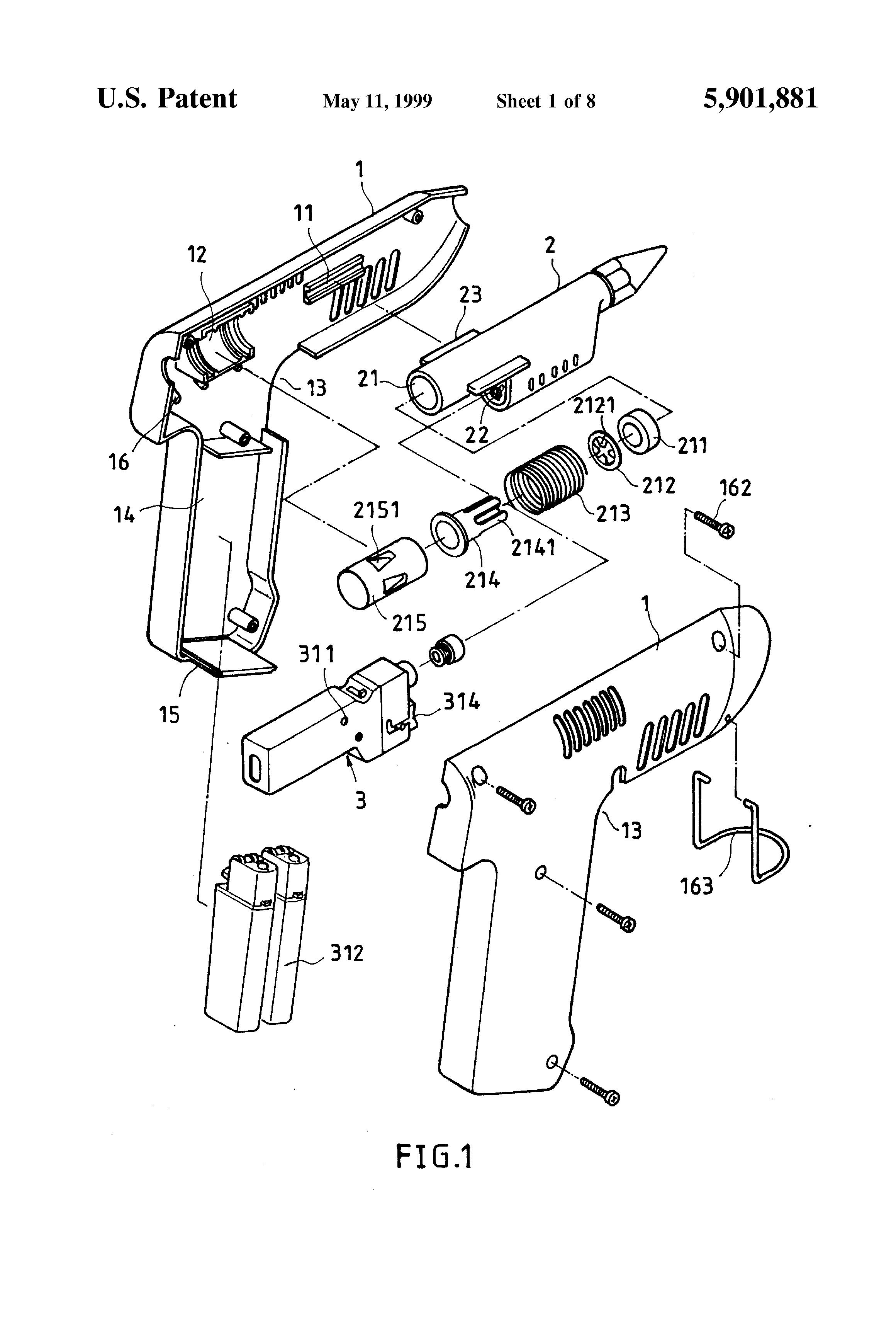 patent us5901881 - multipurpose glue gun